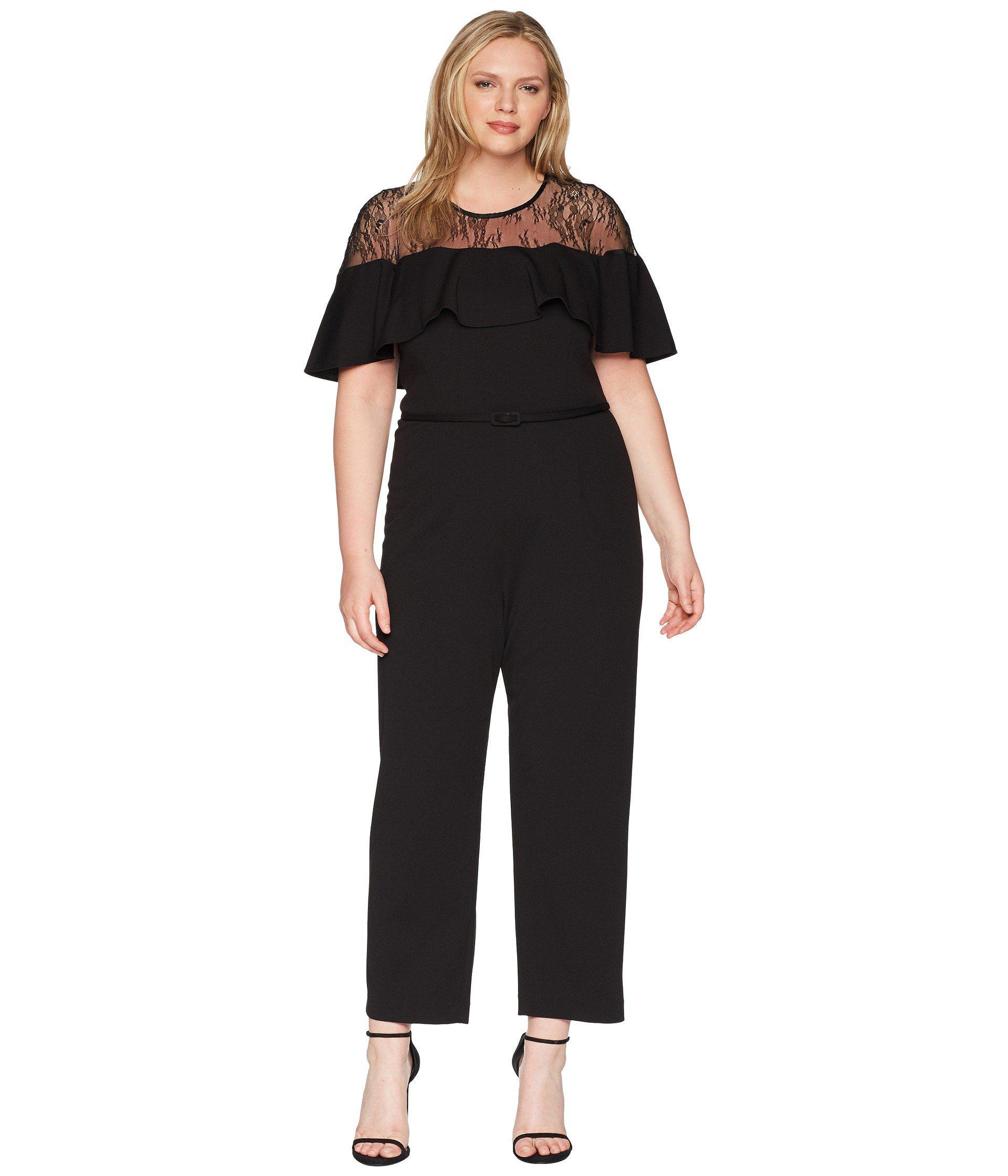 6d890c03902 Lyst - Adrianna Papell Plus Size Illusion Neckline Jumpsuit in Black ...