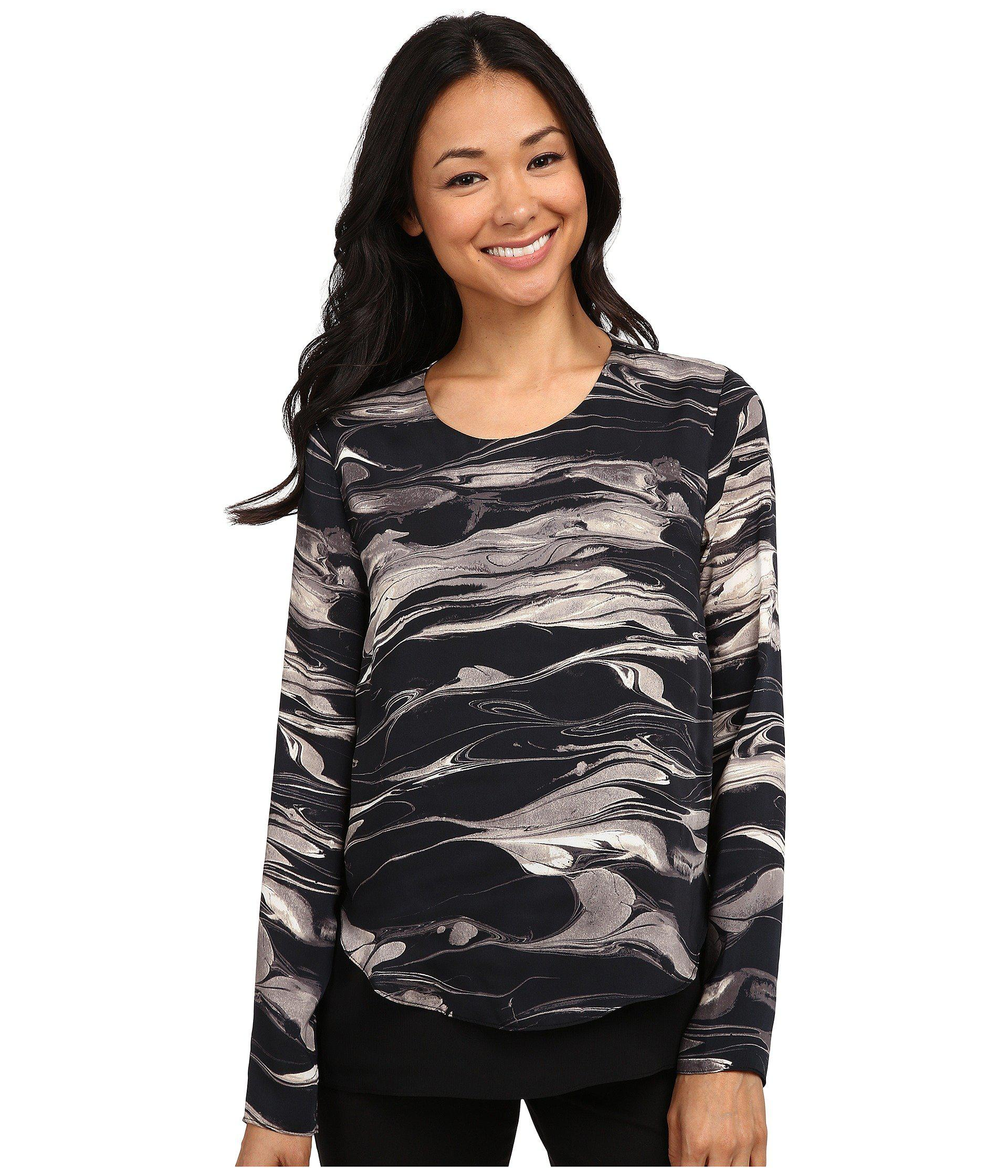 80a2d0b154f DKNY Marbled Ink Crinkle Sheer Double Layer Blouse in Black - Lyst
