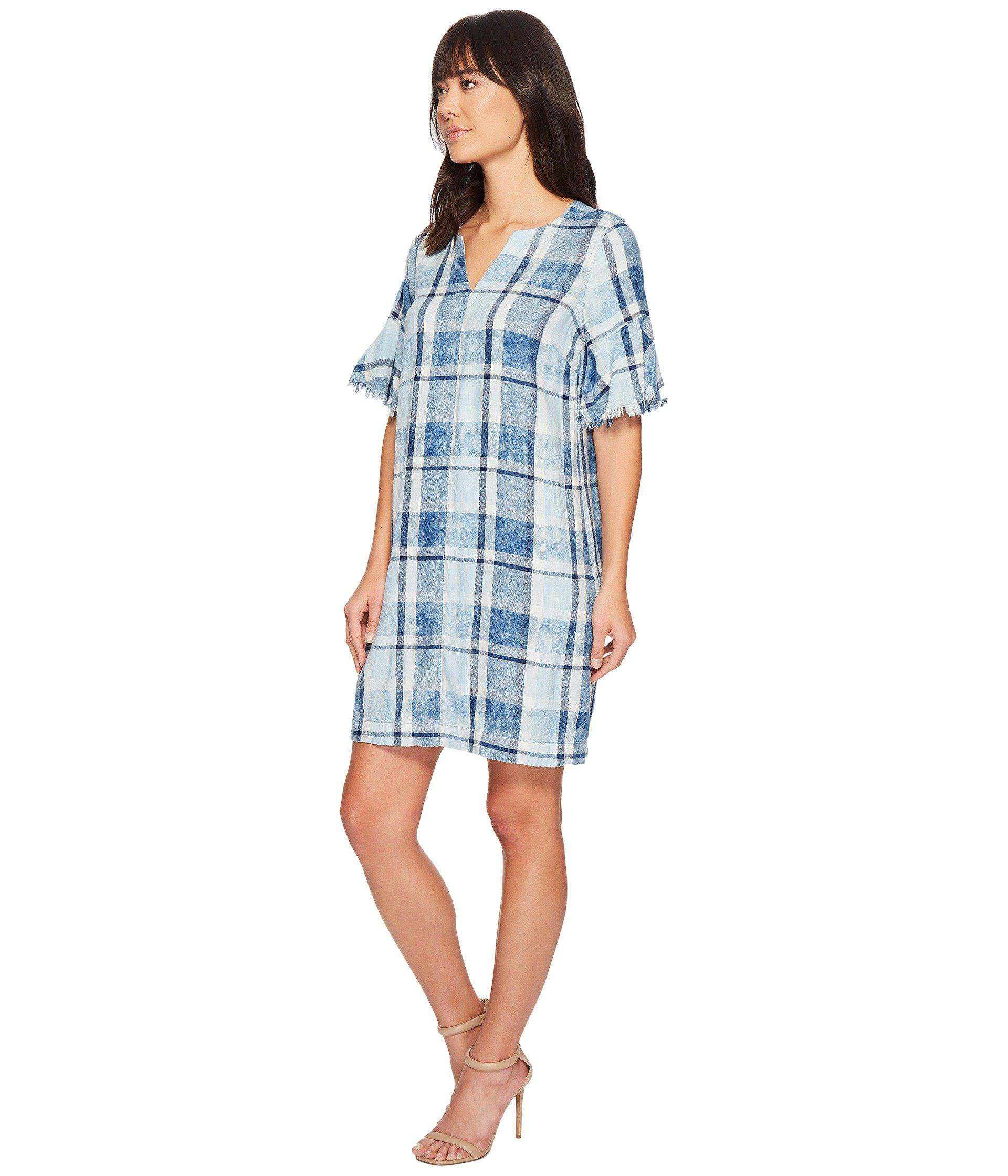 3709befe3c Two By Vince Camuto Flutter Sleeve Bleach Indigo Plaid Dress in Blue - Save  41% - Lyst