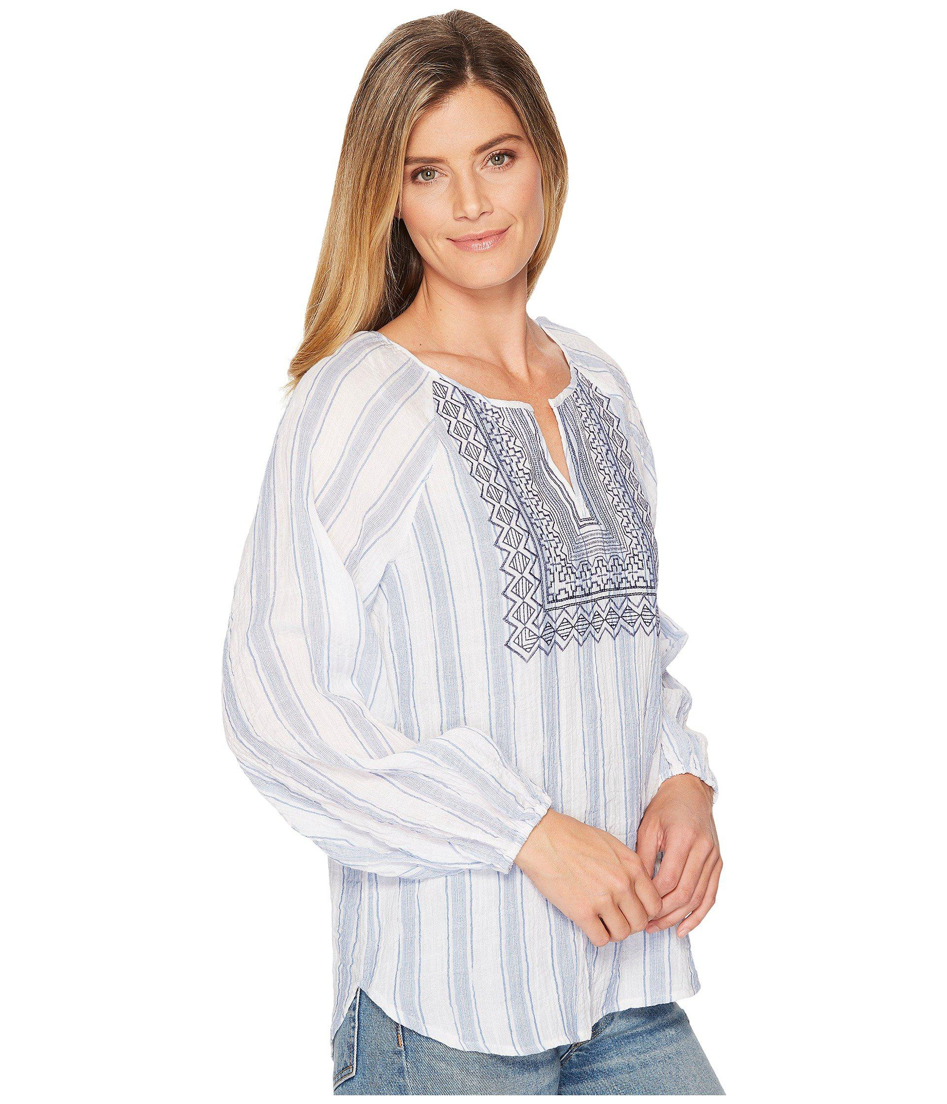 b2b55cc5b04 Two By Vince Camuto - Blue Long Sleeve Stripe Pucker Peasant Blouse With  Embroidered Bib -. View fullscreen