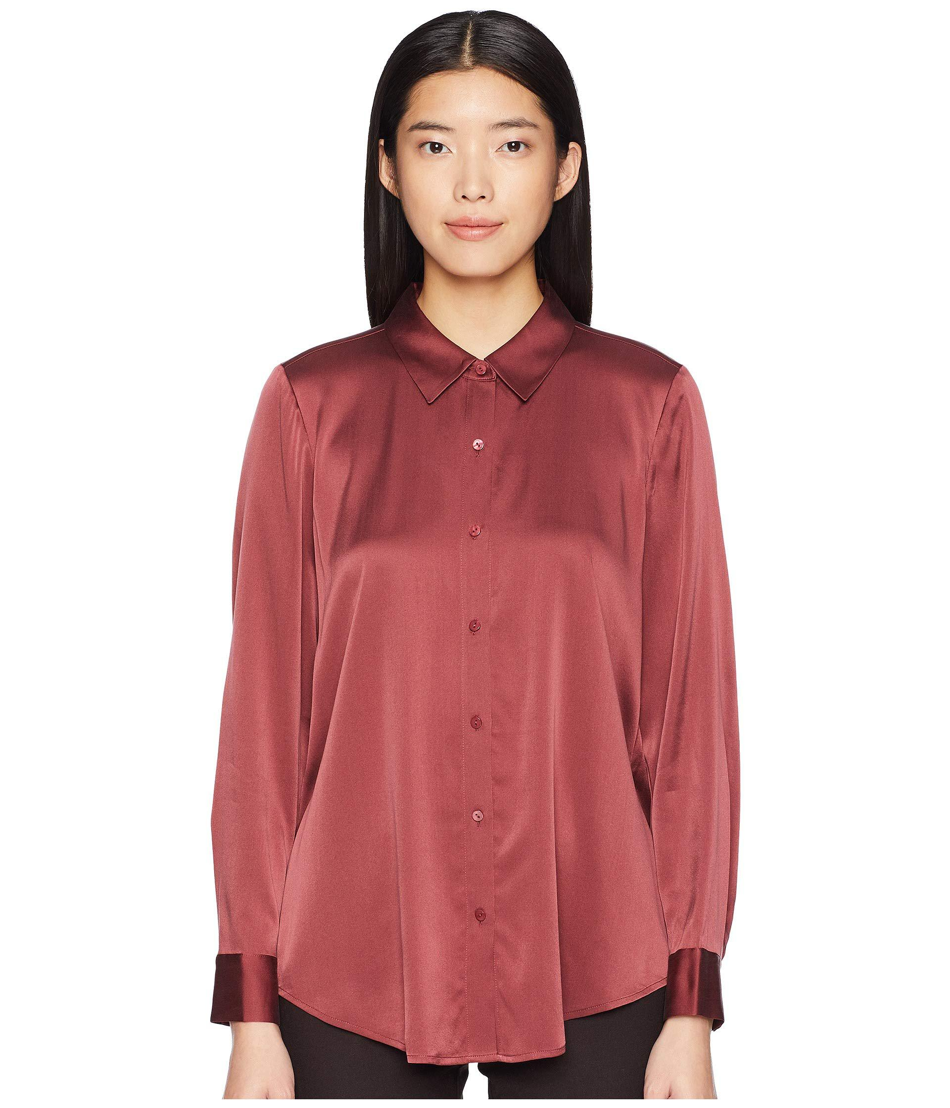 9b3058ee2770ad Eileen Fisher - Red Stretch Silk Charmeuse Classic Collar Shirt - Lyst.  View fullscreen