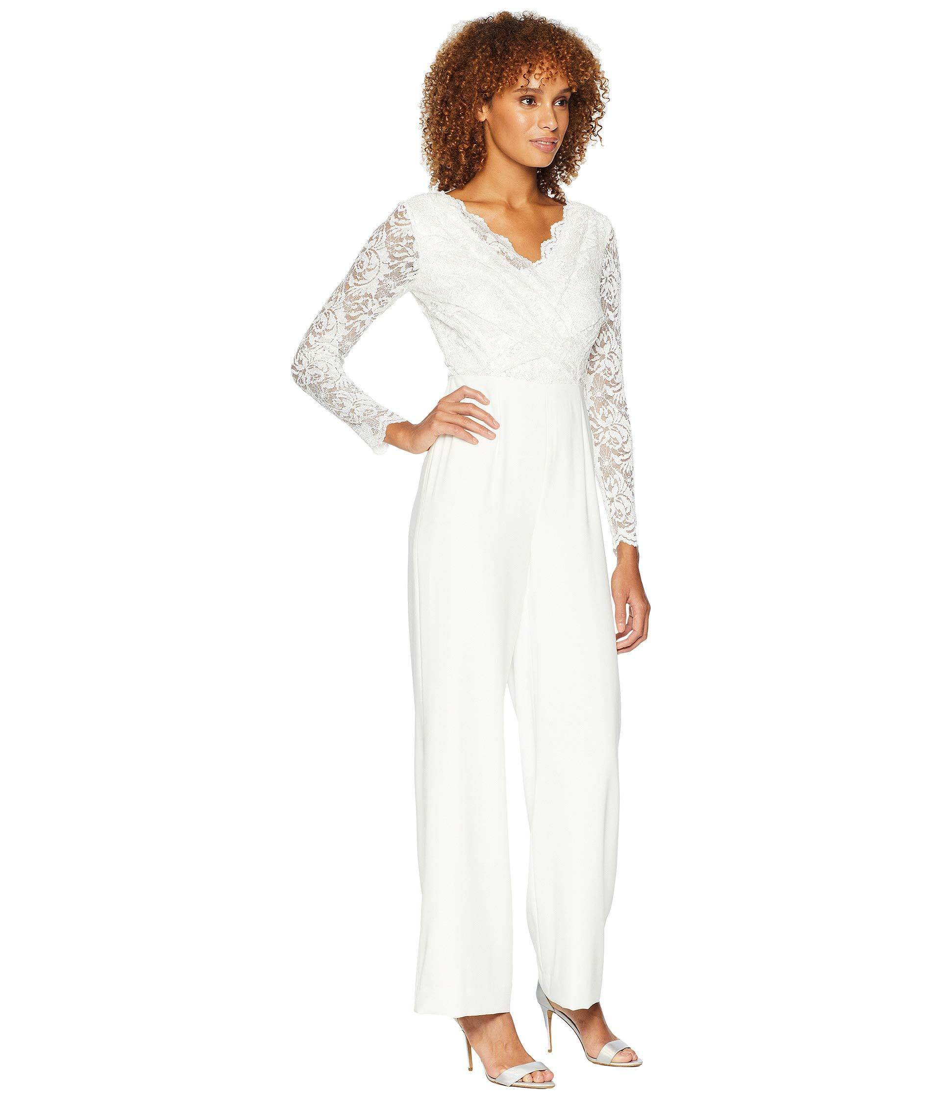 51ac56506790 Tahari - White Long Sleeve Crepe sequin Lace Jumpsuit With V-neckline - Lyst.  View fullscreen