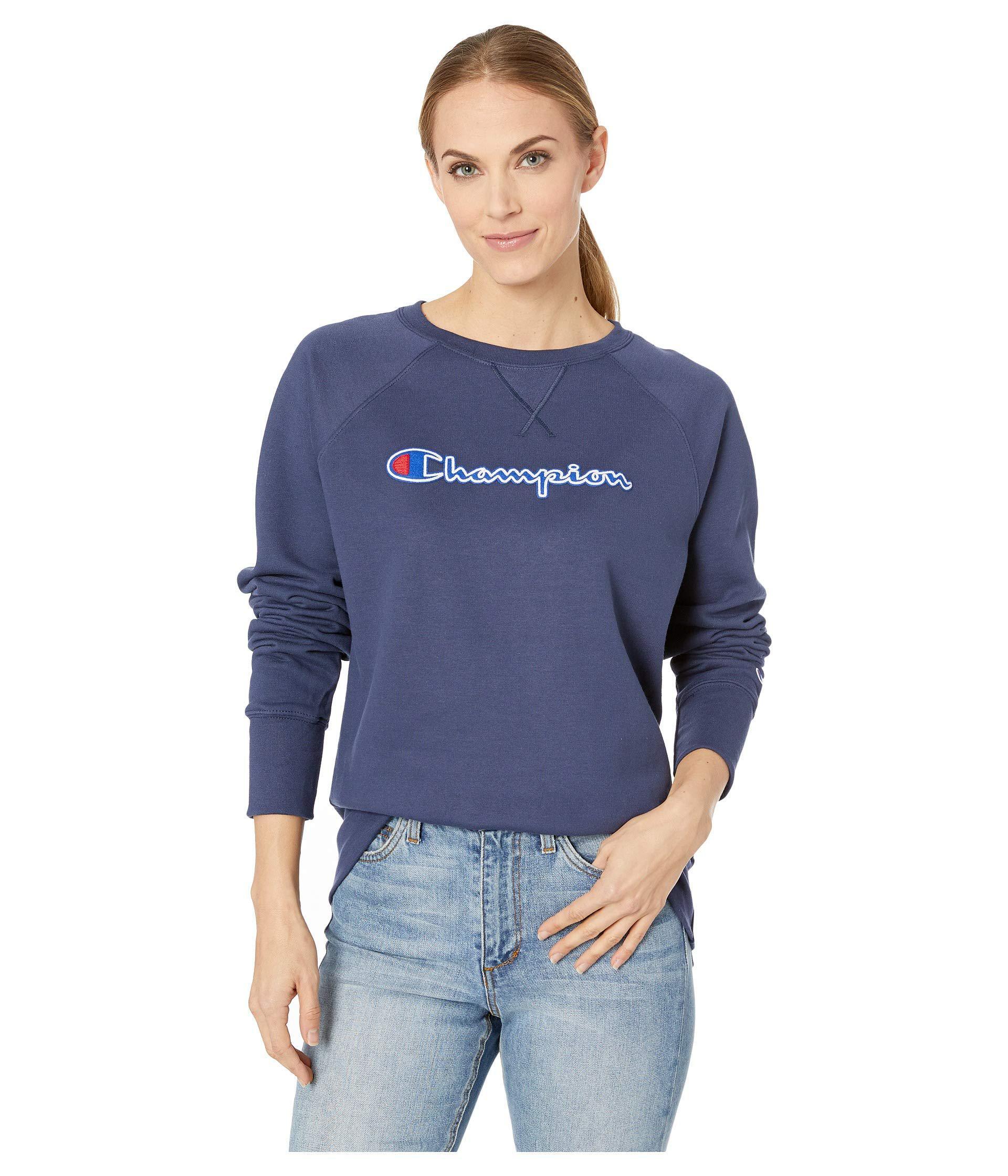 Champion Womens Powerblend/¿ Fleece Boyfriend Crew Applique Y07461