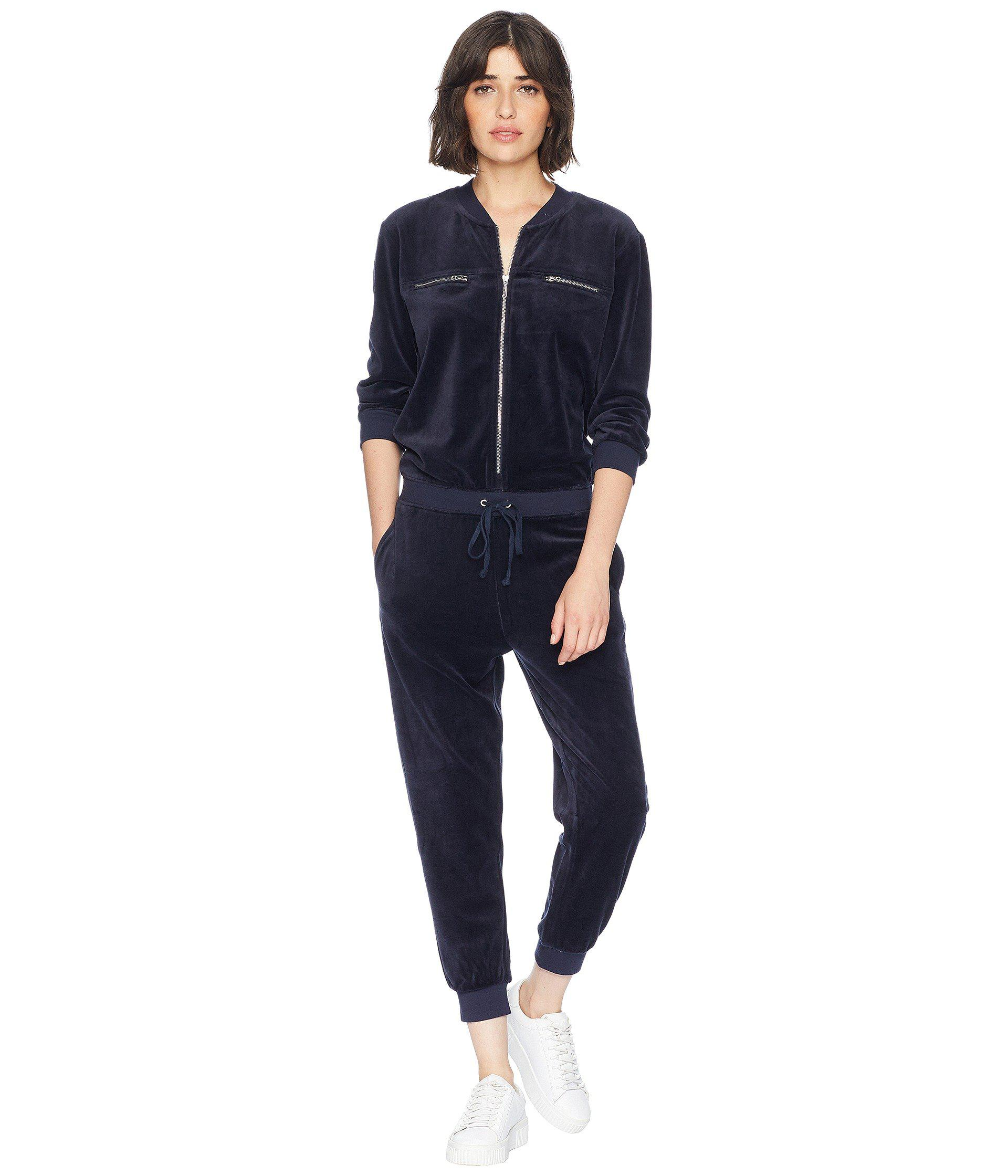 768d42193db0 Lyst - Juicy Couture Track Velour Encrusted Jc Long Sleeve Jumpsuit ...