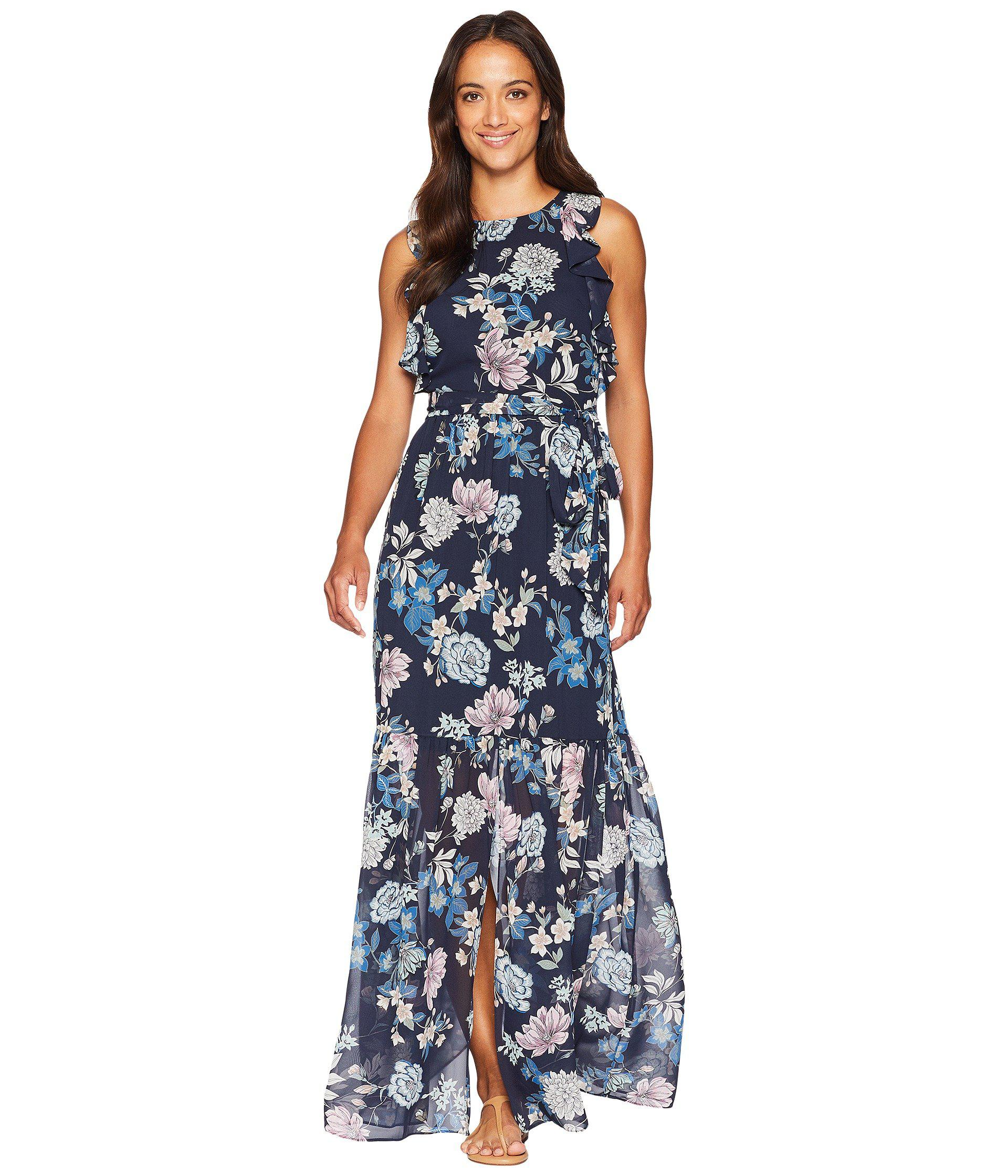 af013bfdaf4 Lyst - Vince Camuto Printed Chiffon Maxi With Ruffle Bodice With ...