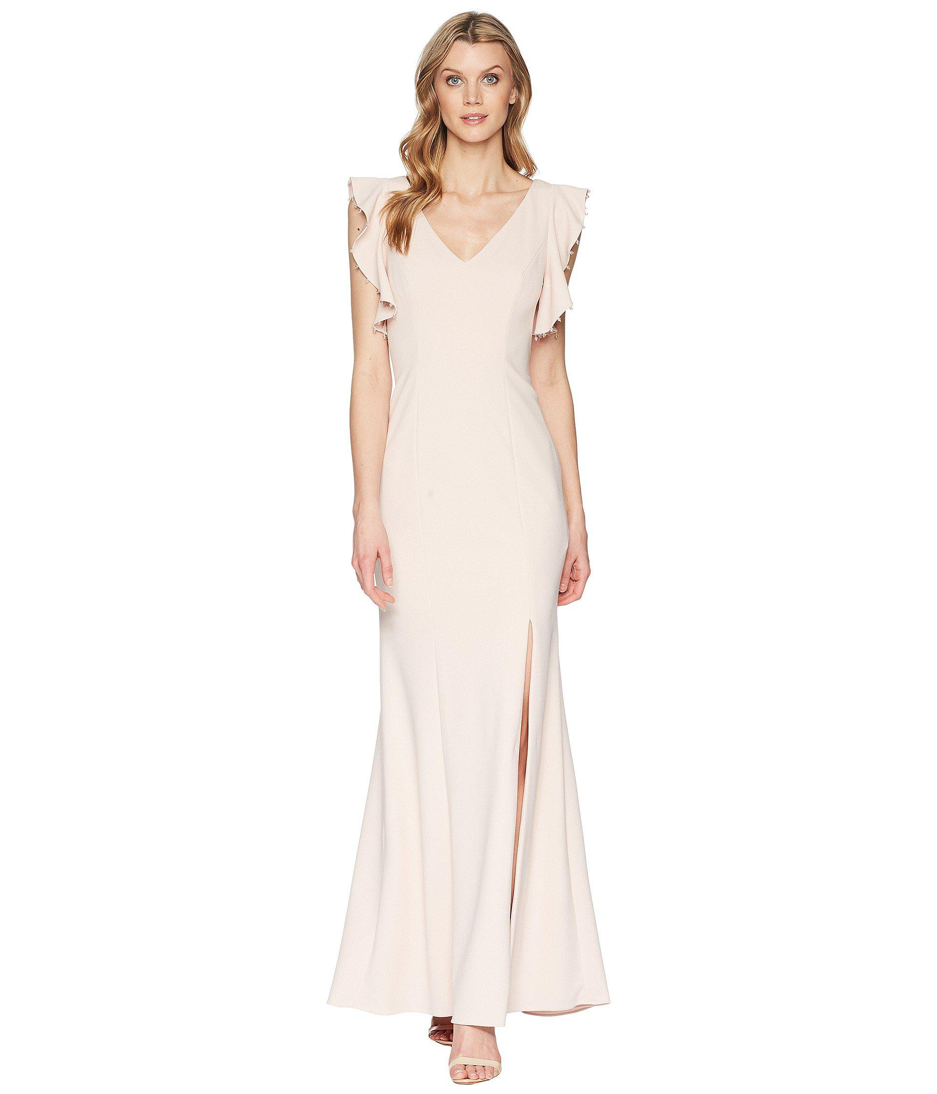 7d48068c3a845 Lyst - Adrianna Papell Long Crepe Dress in Pink - Save 11%