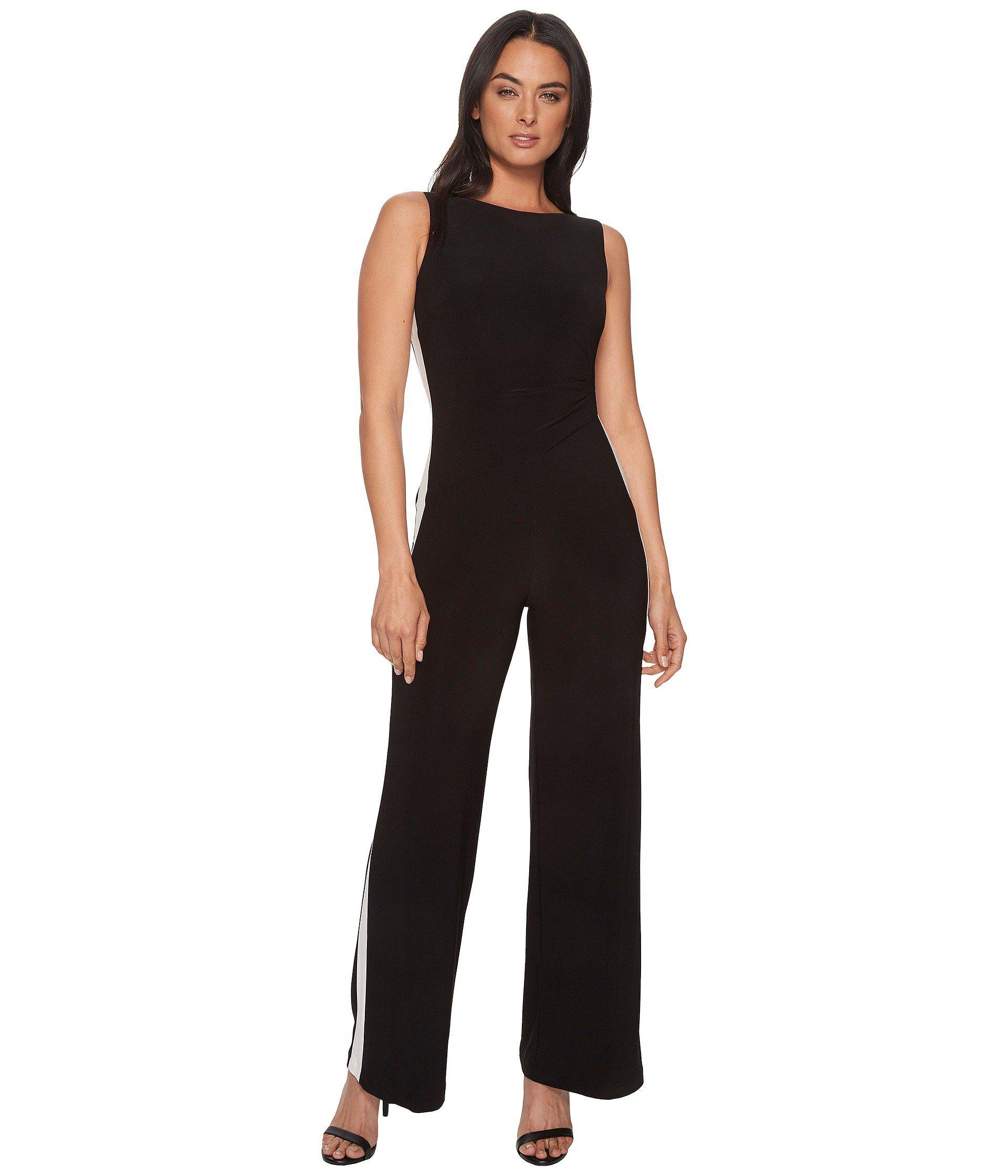 f640e8fc917 Lyst - Lauren by Ralph Lauren Shah Two-tone Matte Jersey Jumpsuit in ...