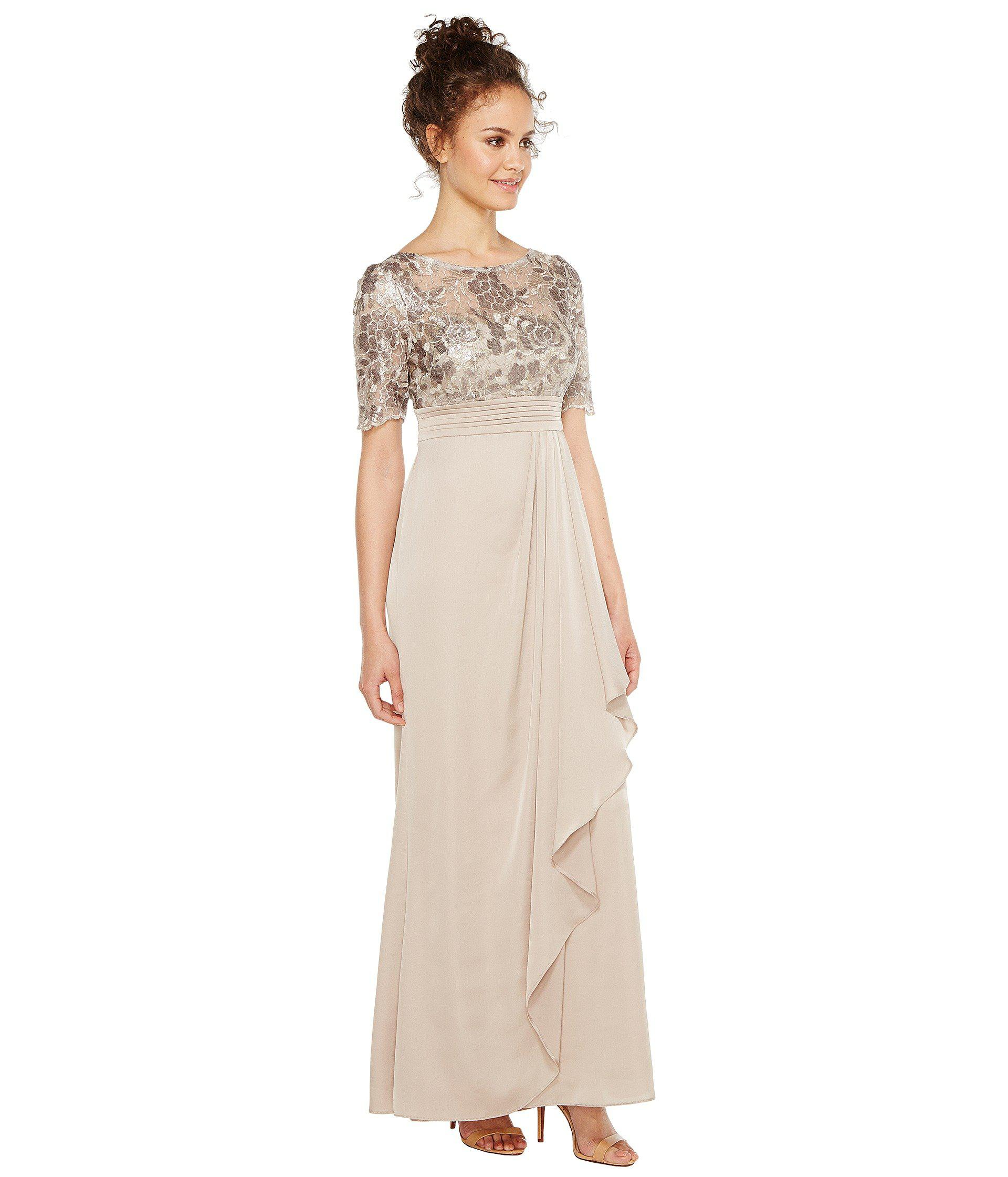 Lyst - Adrianna Papell Petite Sequin Embroiderd Draped Gown With ...