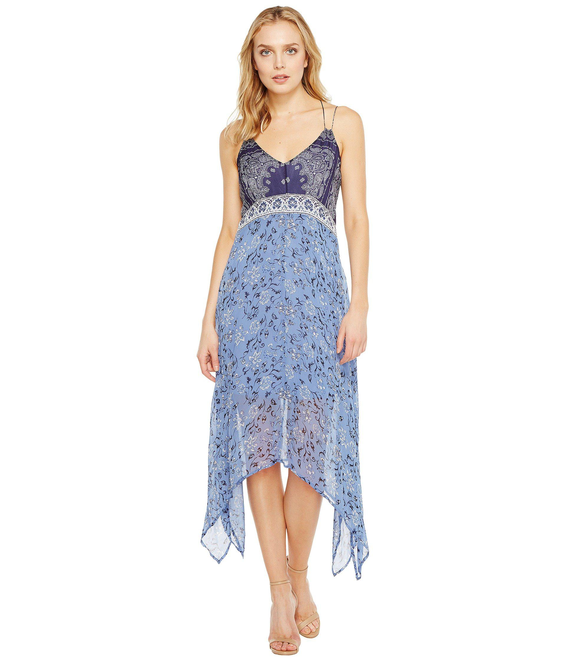 40422f2d6af Lyst - Lucky Brand Scarf Print Dress in Blue