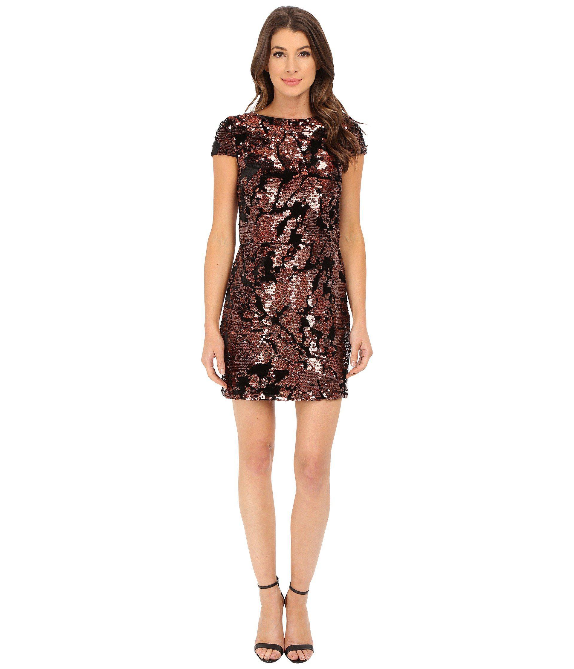 17ad08c469a7 Vince Camuto Cap Sleeve Velvet Sheath Dress With Flexible Copper ...