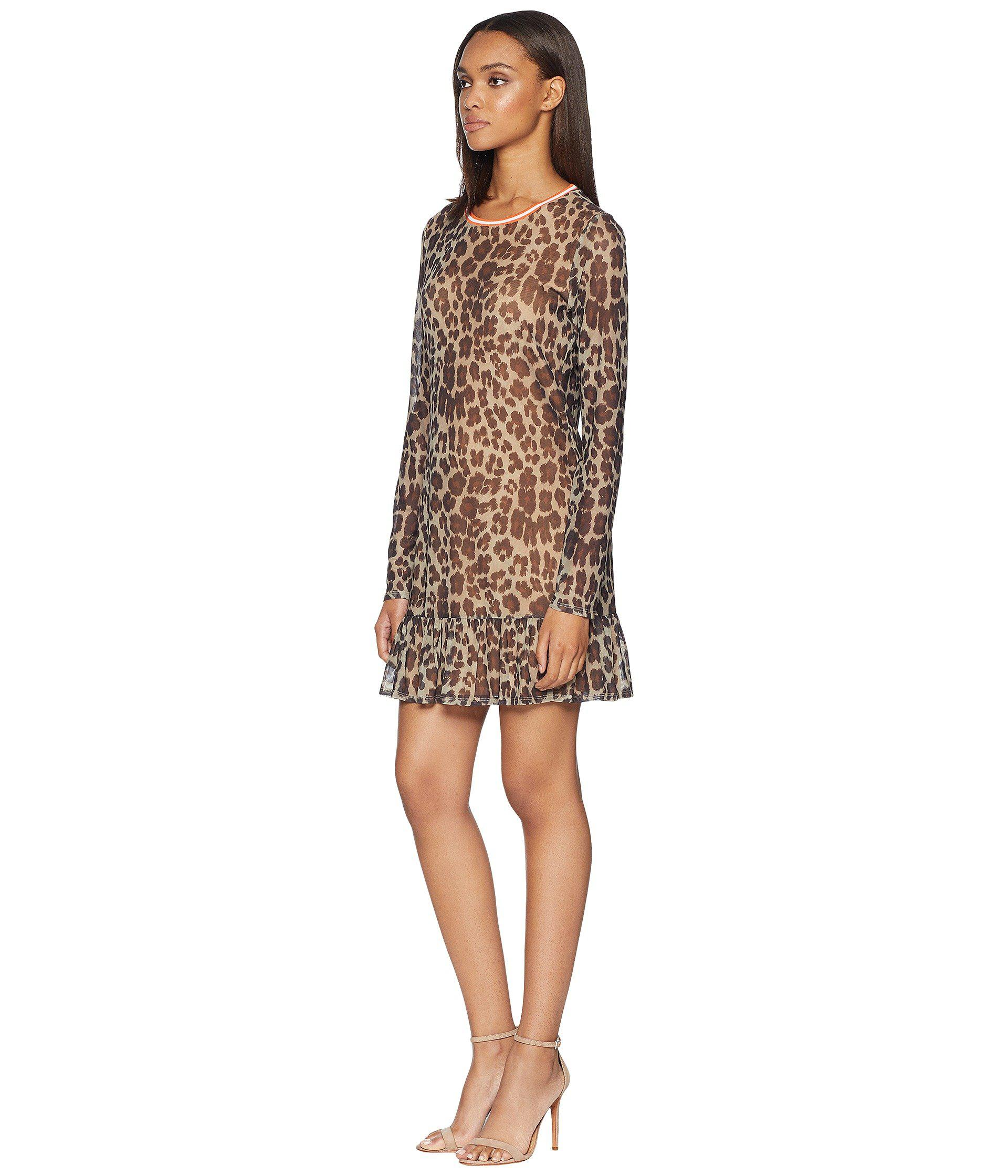 138a5bce91 Lyst - Juicy Couture Leopard Print Drop Waist Bell Sleeve Dress in Brown
