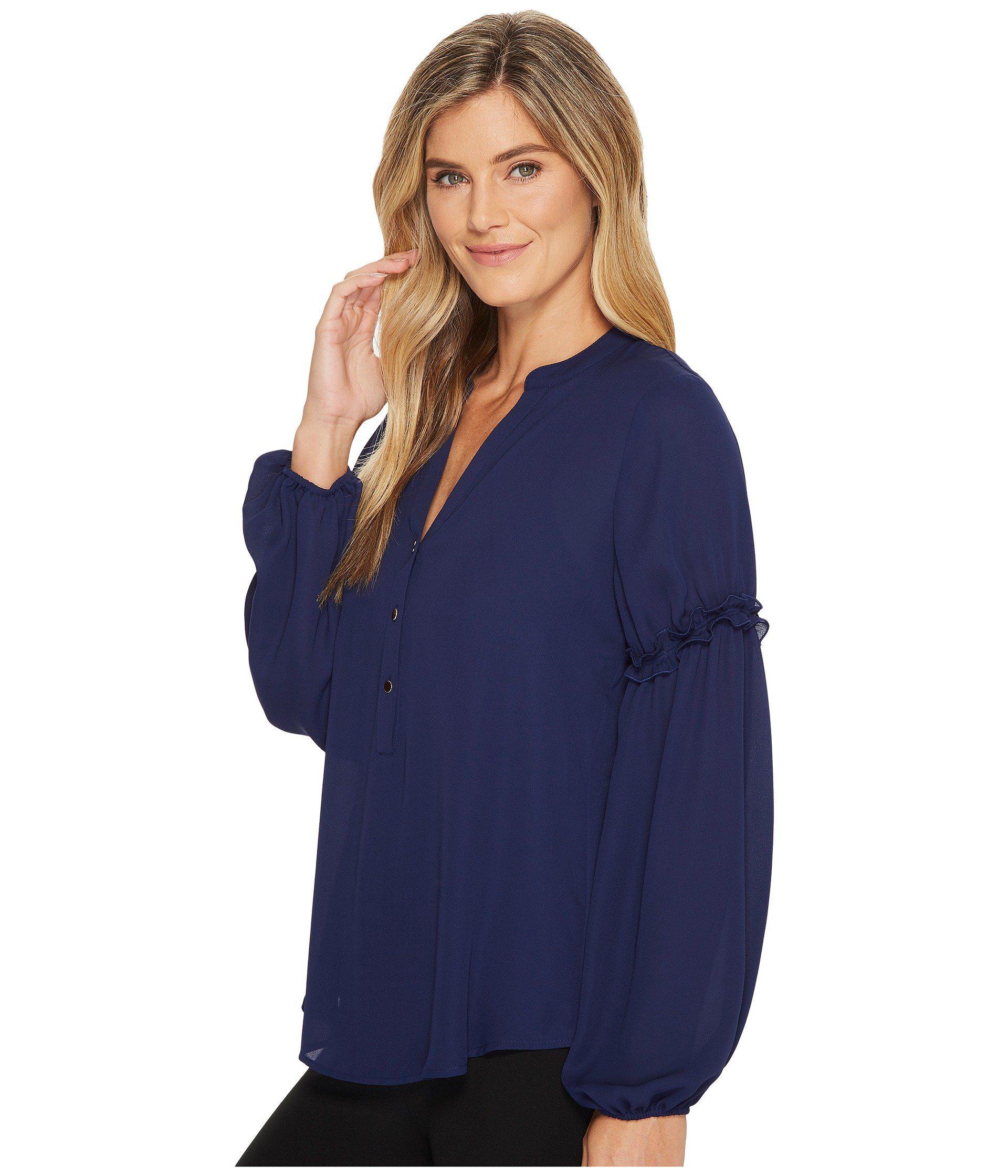 b50c679bb2e7fc Lyst - Ivanka Trump Georgette Long Sleeve Pleasant Blouse in Blue - Save 51%