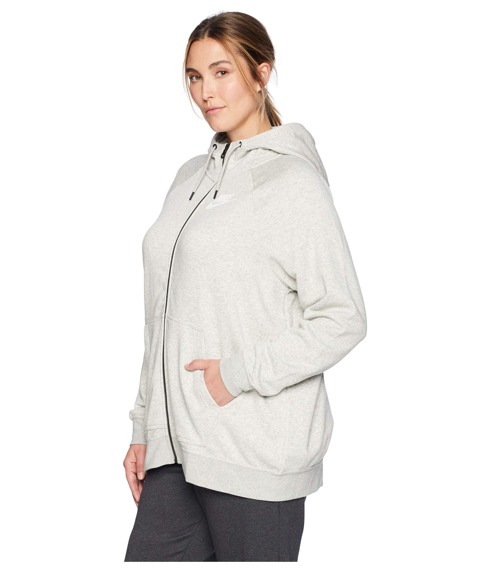 f22edece3ac83 Lyst - Nike Plus Size Rally Full Zip Extended Hoodie in Gray - Save 19%