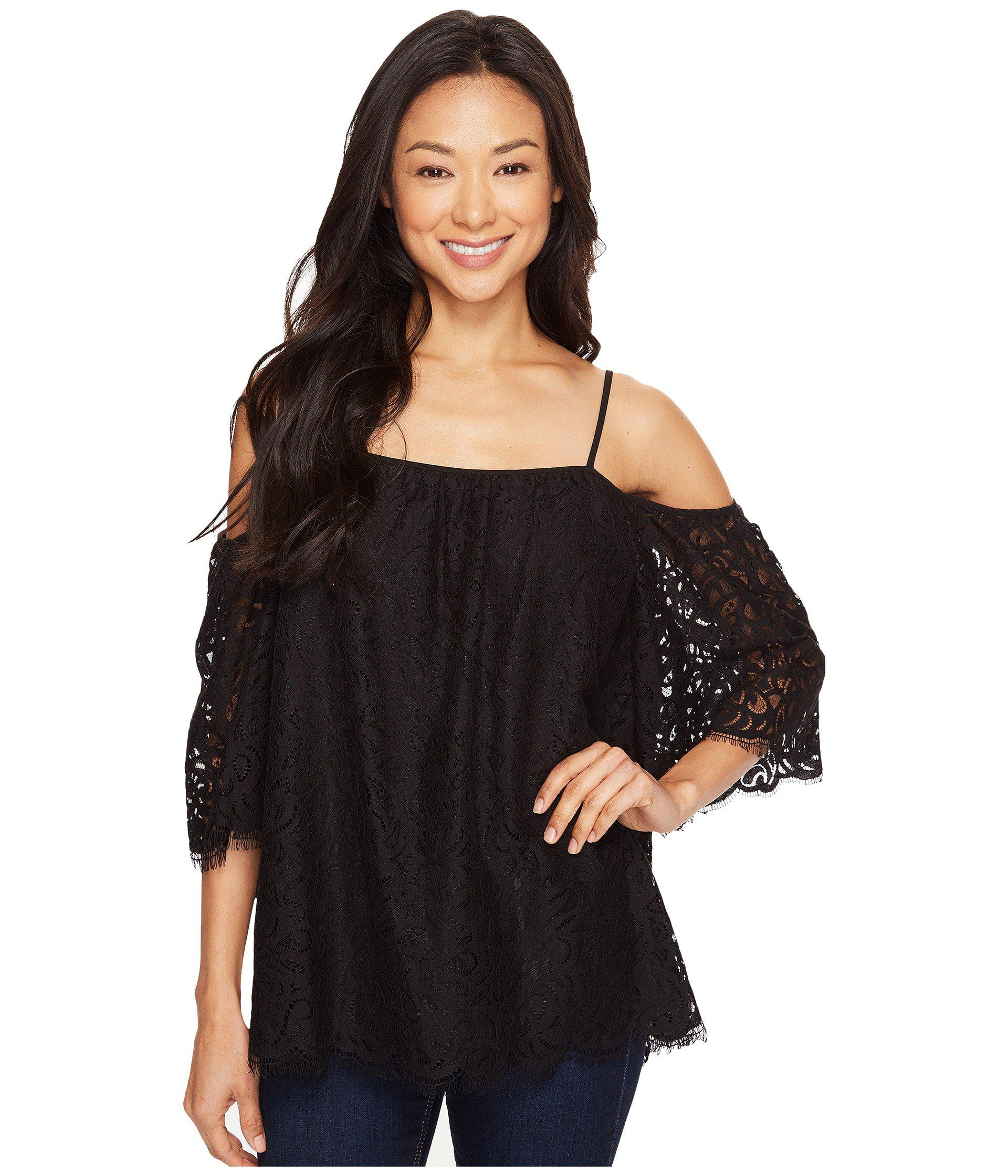 4b184ded8a8ea Vince Camuto. Women s Black Elbow Sleeve Cold-shoulder Geo Lace Blouse