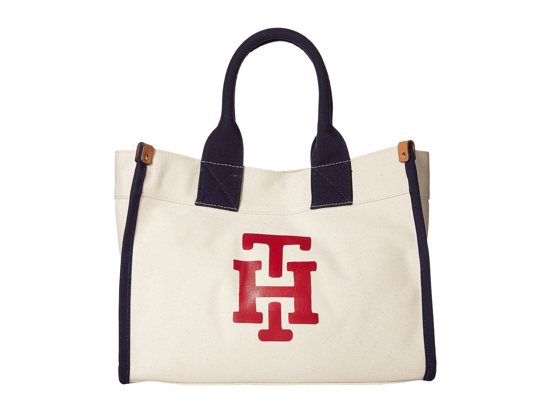 689777402ebf Lyst - Tommy Hilfiger Canvas Th Print Medium Tote in Natural