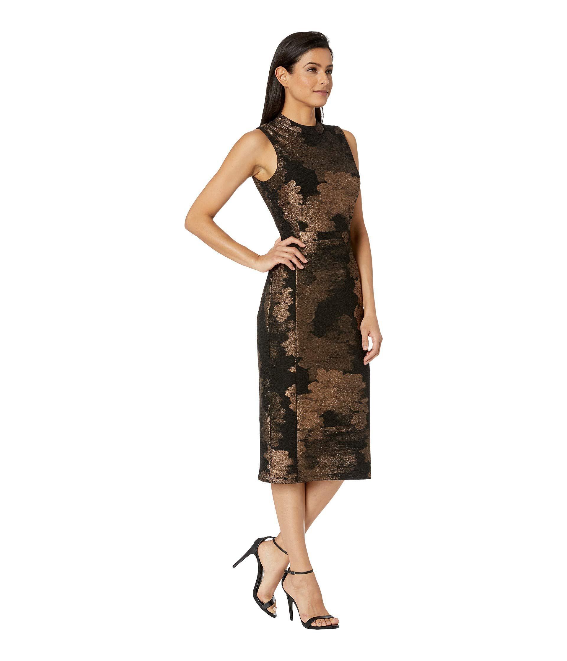 72513288c3261 Lyst - Nine West Novelty Knit Mock Turtleneck Sheath Dress in Black