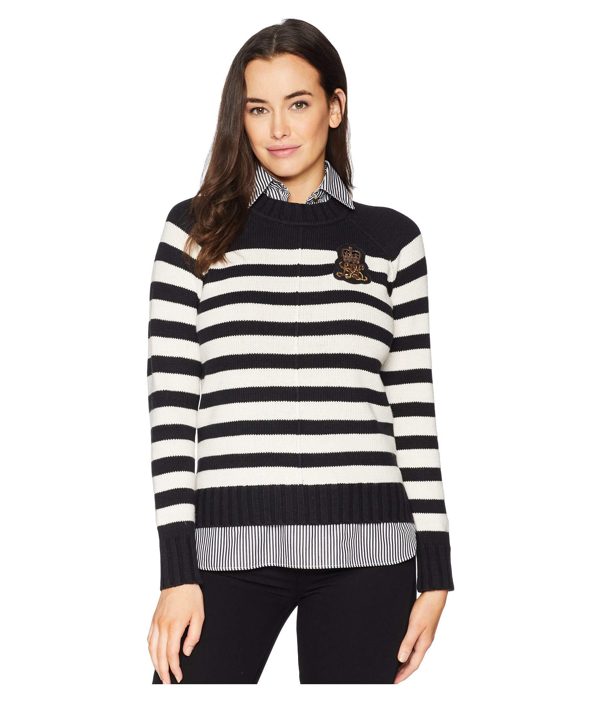 Lyst - Lauren by Ralph Lauren Bullion-patch Layered Shirt in Black ... b6418de2bf22