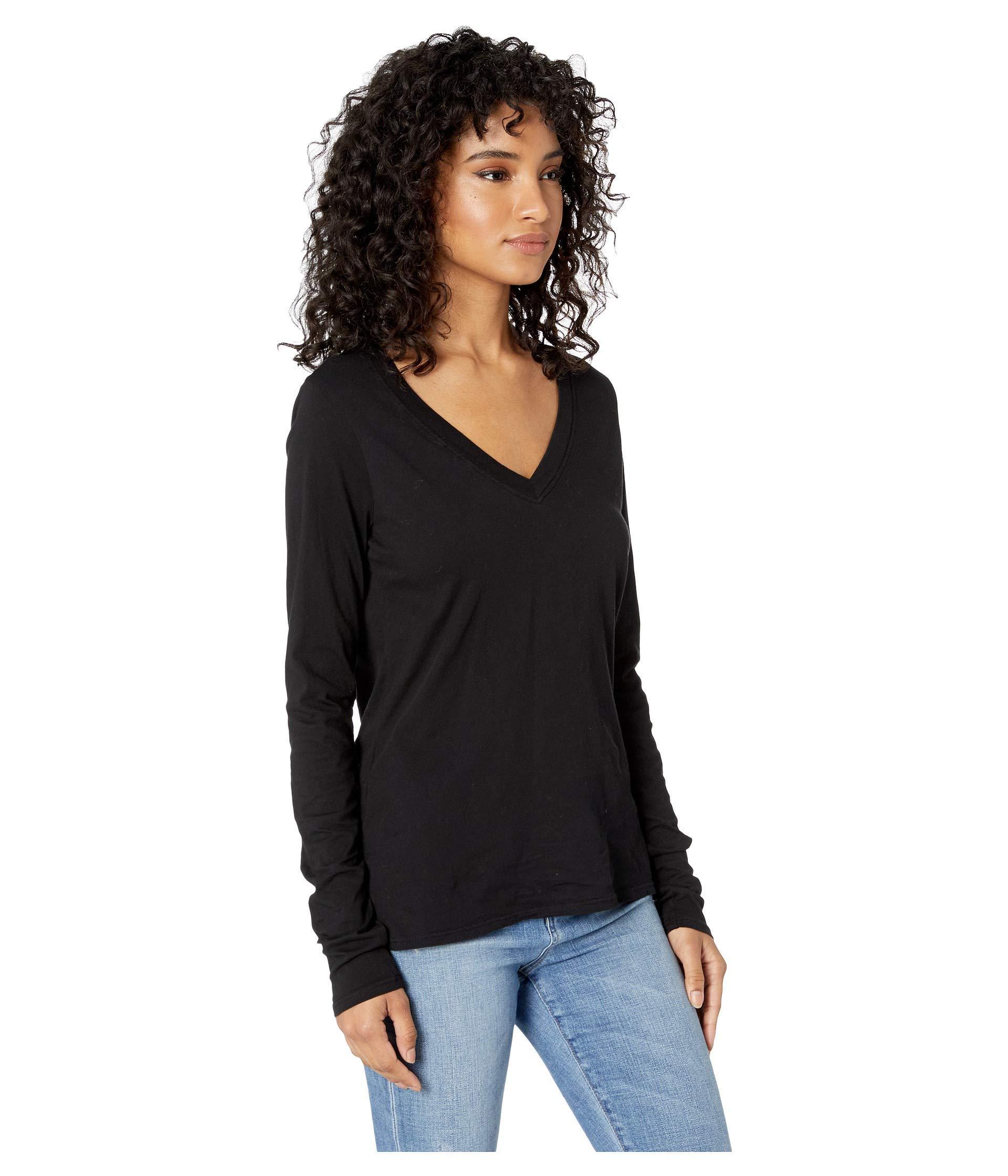 fd6b3a9f Lamade - Black Long Sleeve V-neck In Tissue Jersey - Lyst. View fullscreen