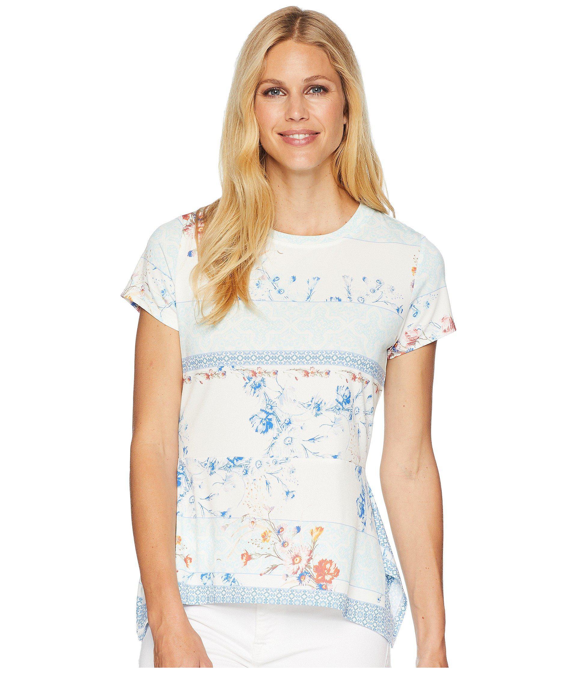 9780ecae77db26 Lyst - Ivanka Trump Printed Cap Sleeve Top With Peplum Hem in White