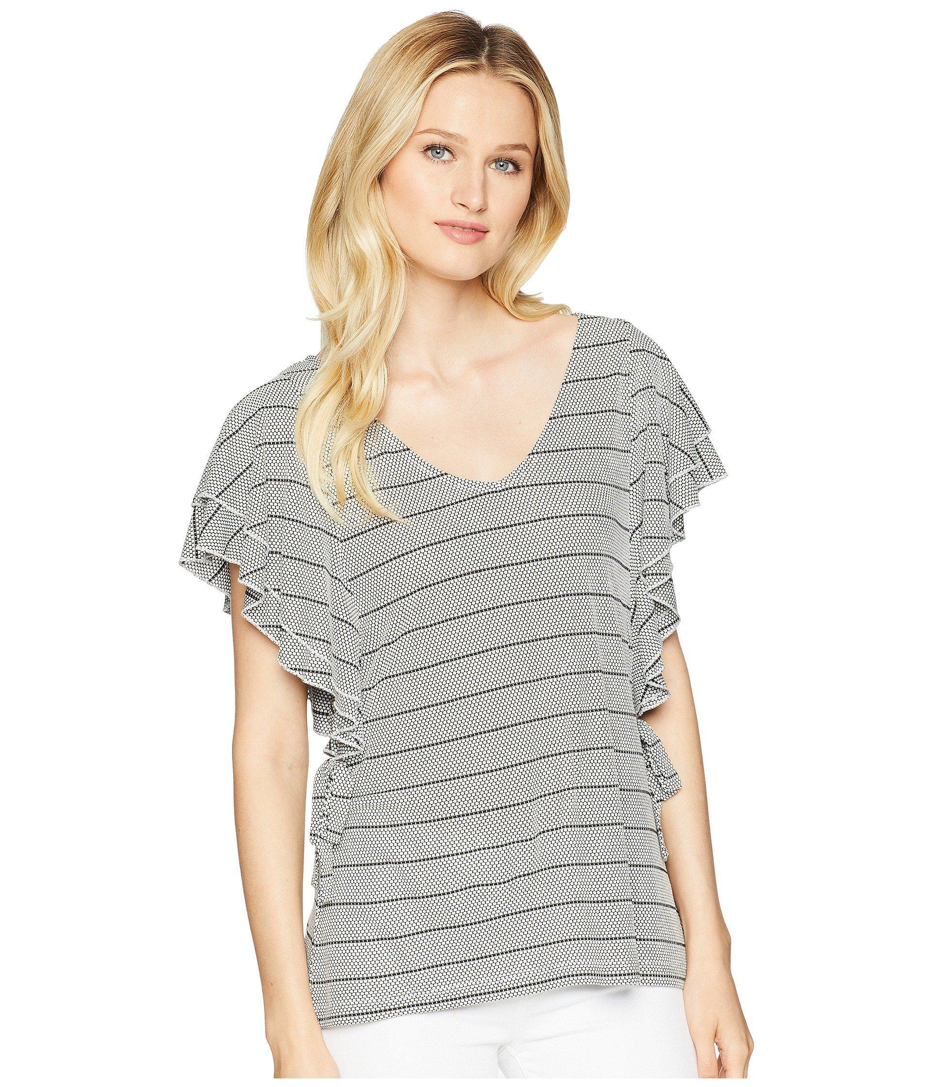 d4d2b4b451e8f Ivanka Trump. Women s Gray Stripe Ruffle Sleeve Scoop Neck Top With Open Hem