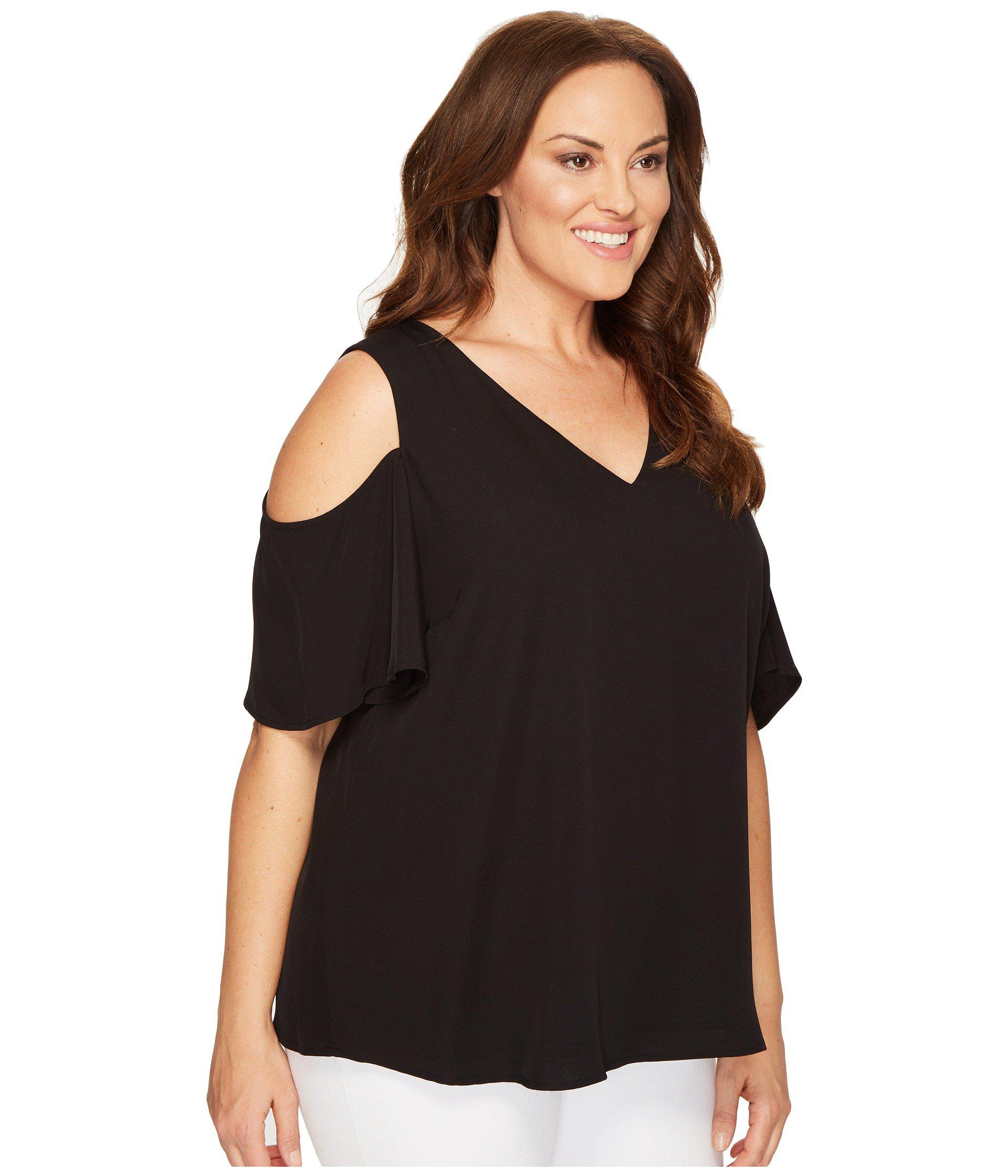 1014024c1e2e9c Calvin Klein Plus Size V-neck Cold Shoulder Flutter Sleeve Top in ...