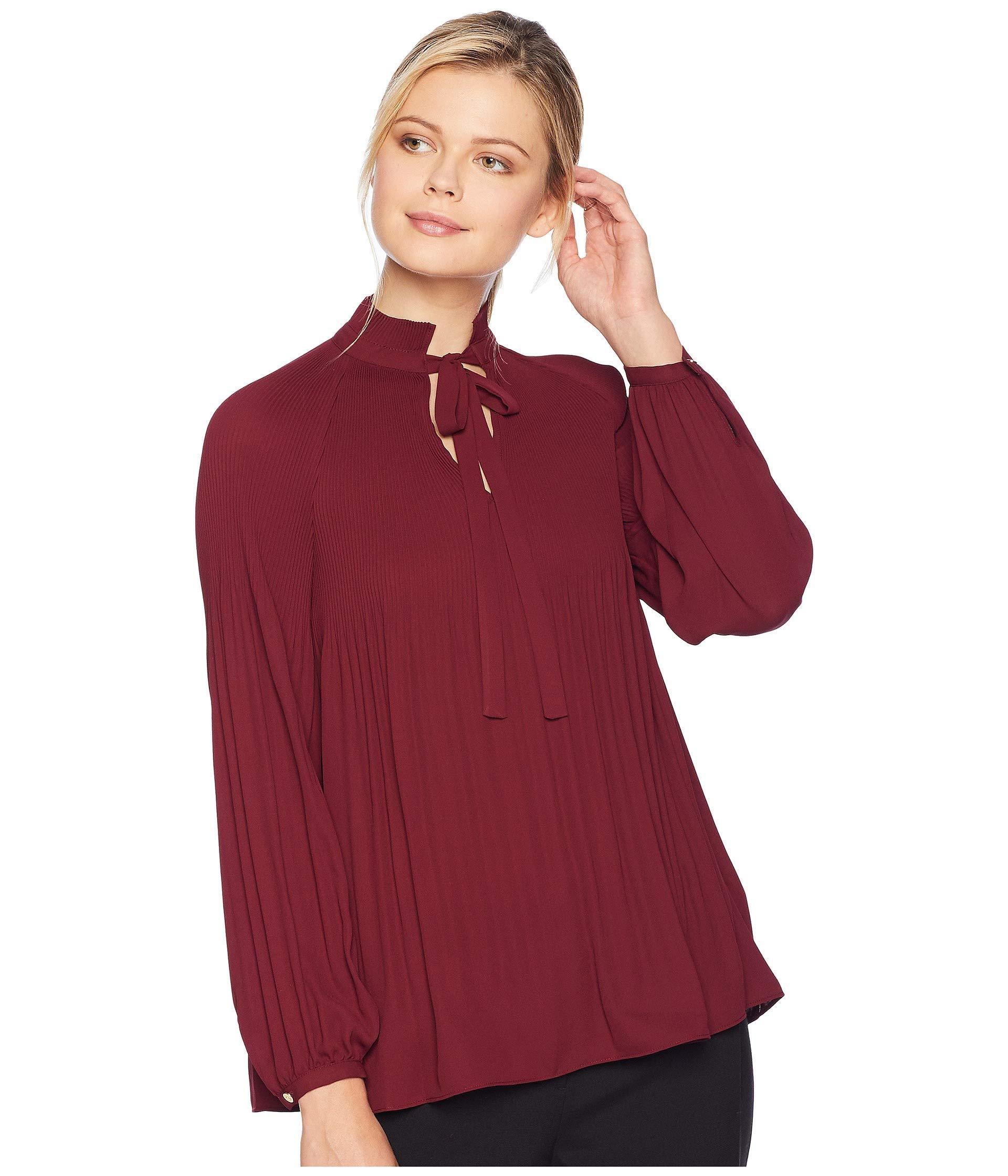 efd562d197264 Lyst - Lauren by Ralph Lauren Georgette Tie Neck Top in Red - Save 55%