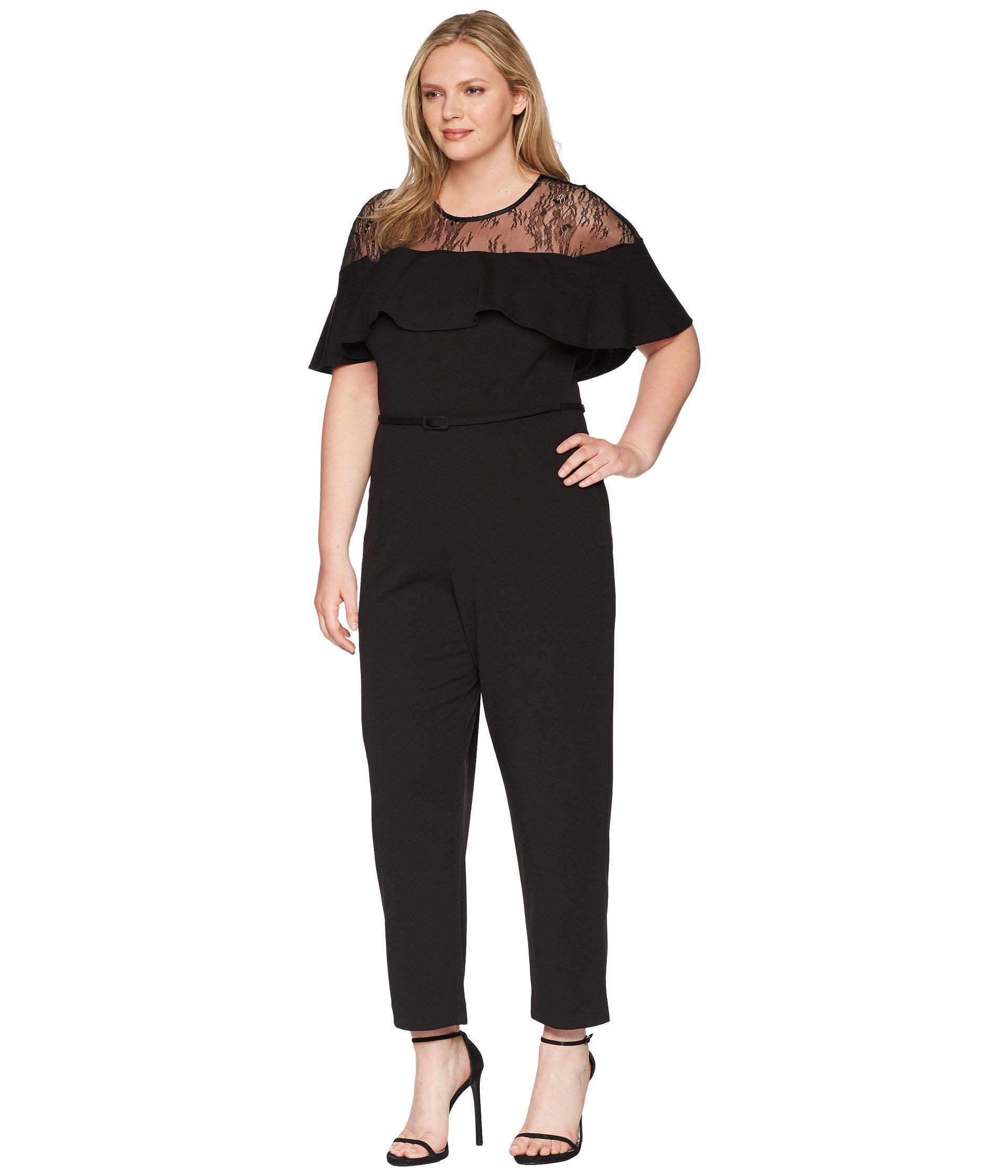 103cb2f7e8e Lyst - Adrianna Papell Plus Size Illusion Neckline Jumpsuit in Black - Save  30%