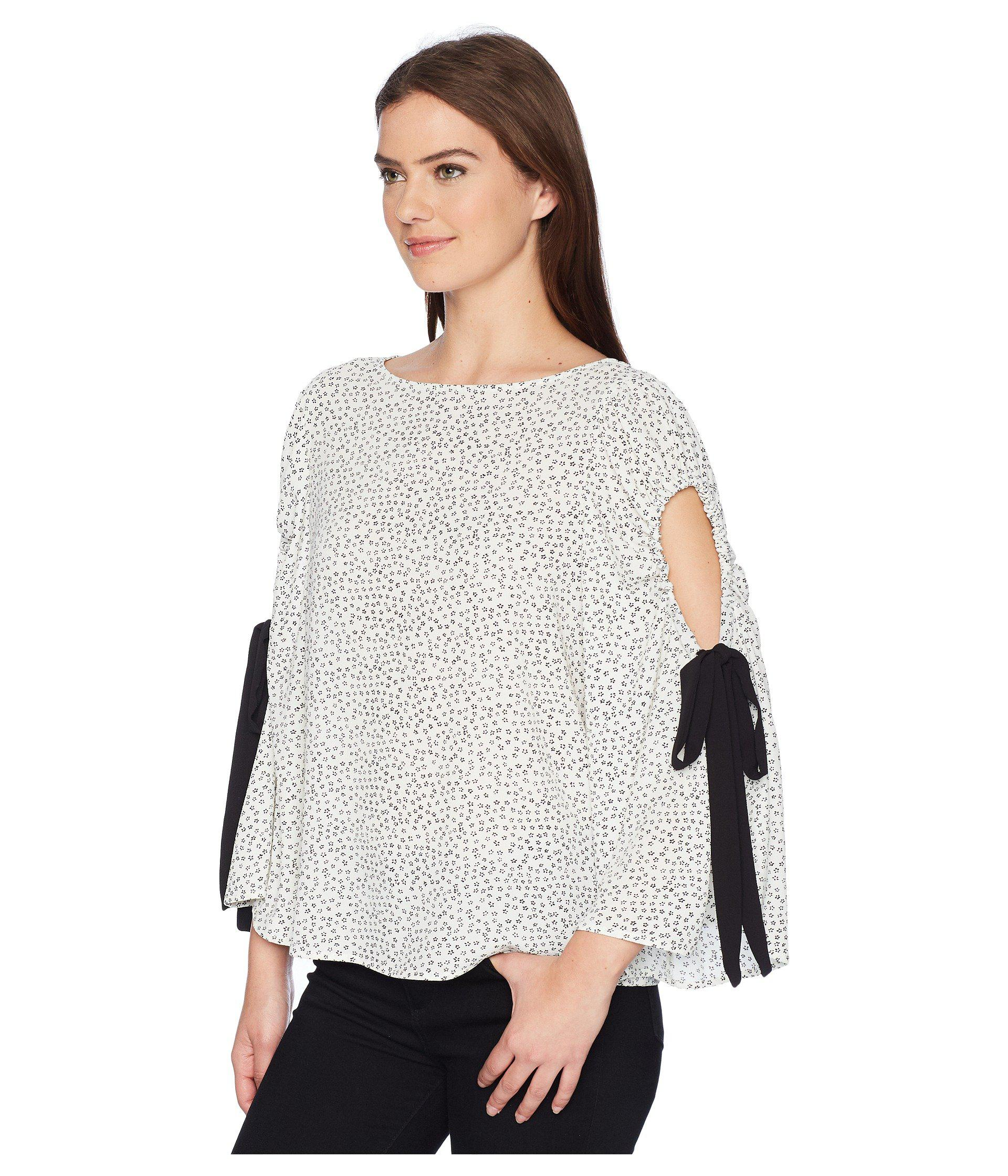 31efb2dee93072 Lyst - Vince Camuto Bell Sleeve Flower Ditsy Tie Cold Shoulder Blouse in  White - Save 38%