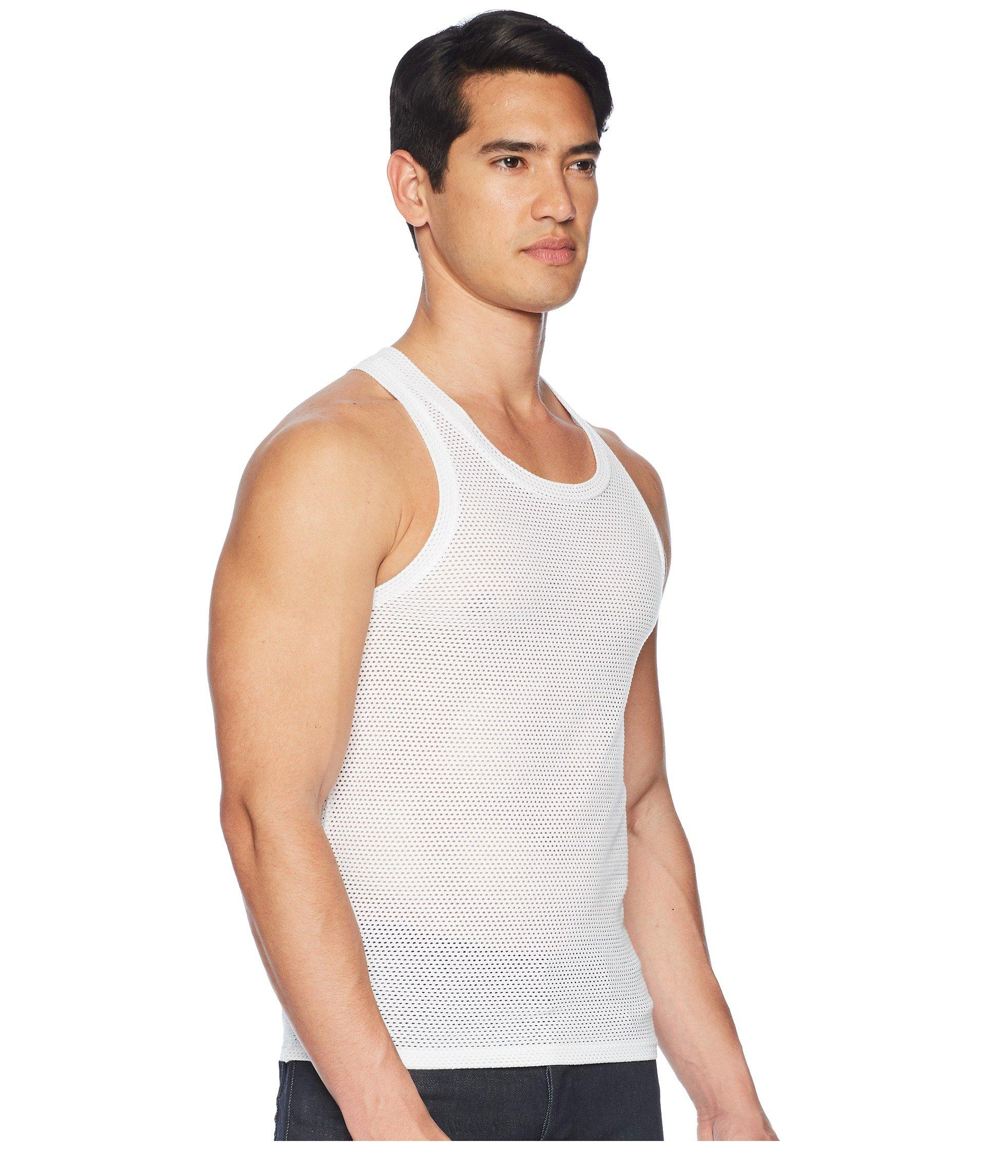 77a7deebc04ec Emporio Armani - White Tech Mesh Tank Top for Men - Lyst. View fullscreen
