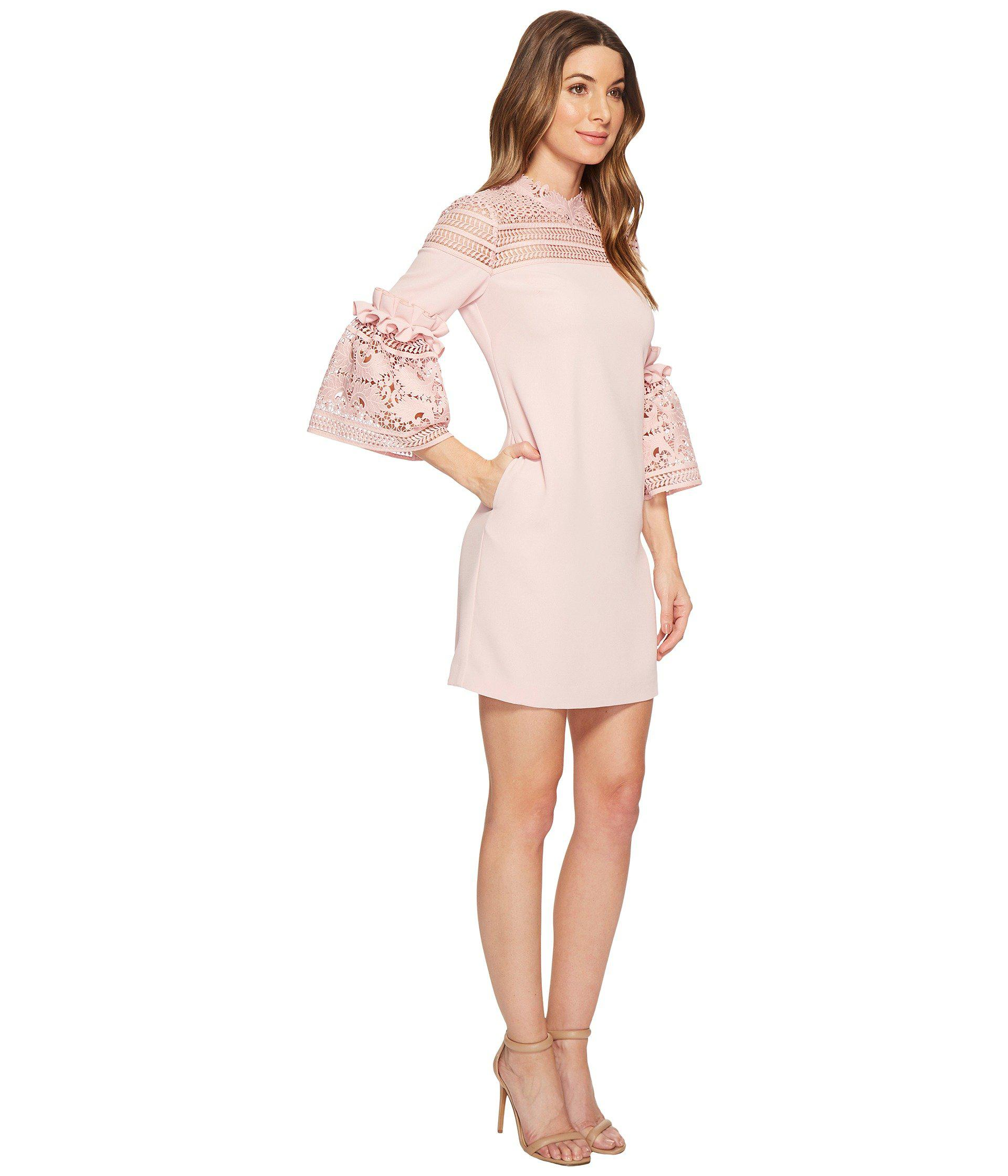 8d2efc5f5 Lyst - Ted Baker Lucila Lace Panel Bell Sleeve Tunic in Pink