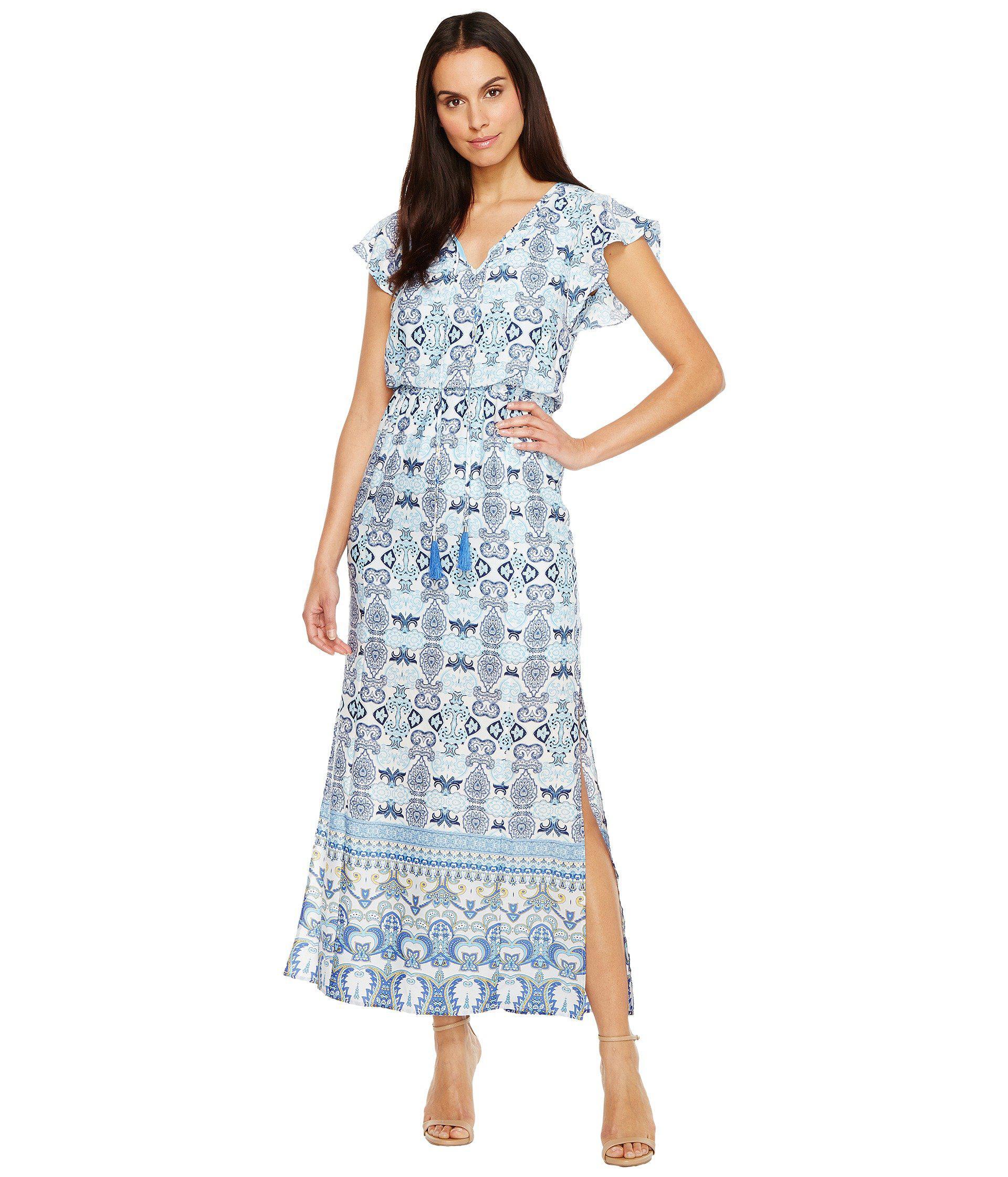 f707940cb24 Adrianna Papell. Women s Blue Pieced Paisley Printed Cdc Blouson Maxi Dress  ...