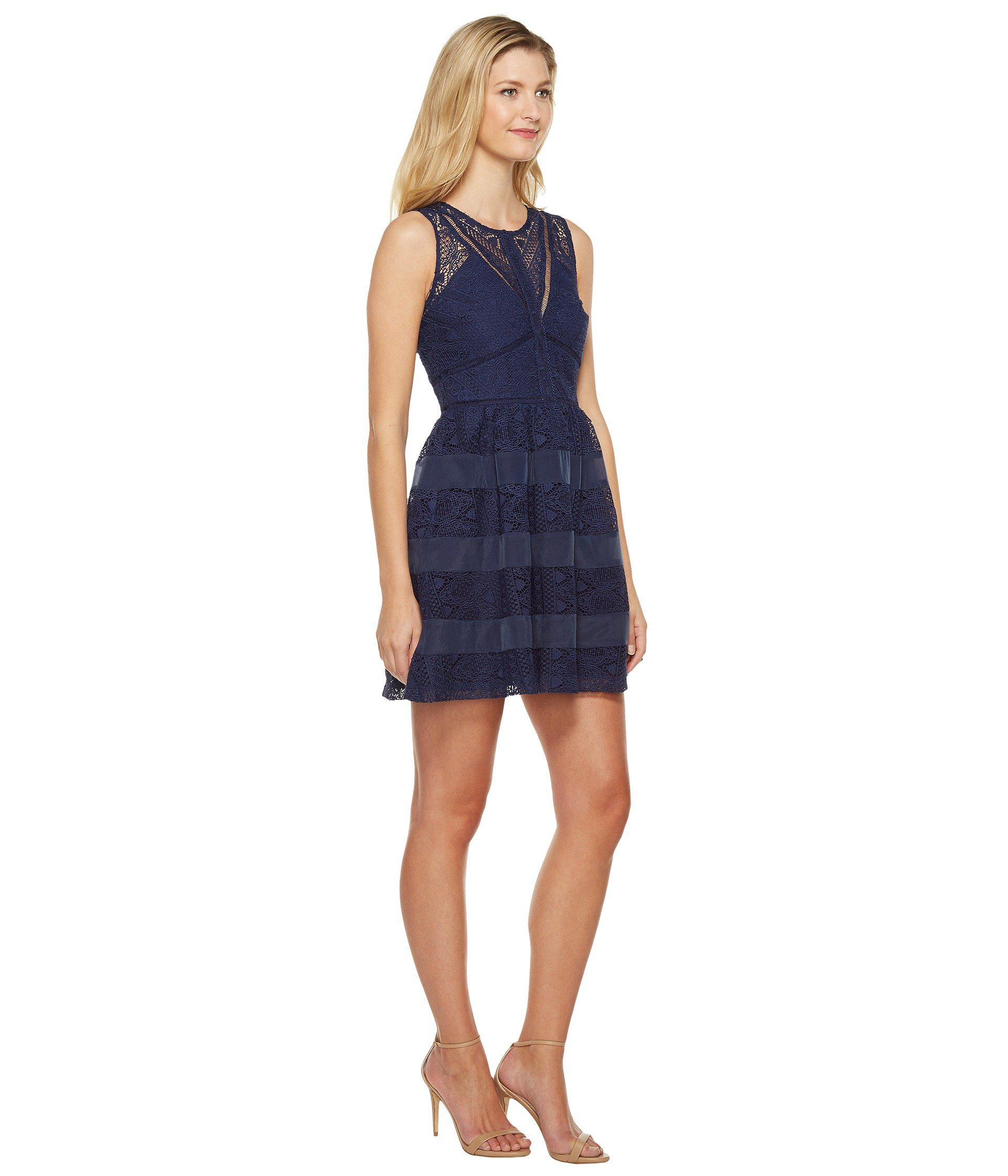 Lyst Adelyn Rae Marissa Woven Lace Fit And Flare In Blue
