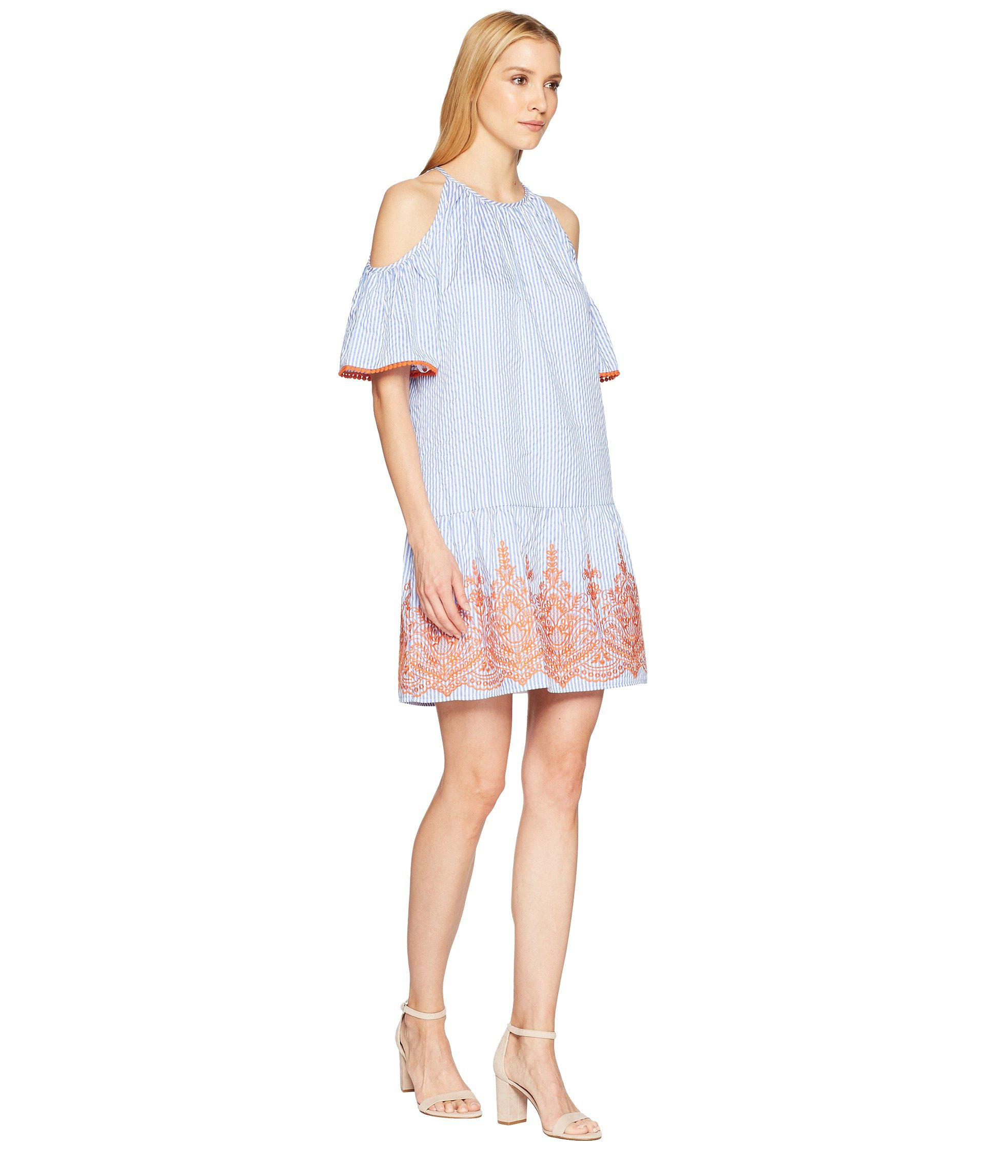 4662a11c Maggy London - Blue Embroidery Stripe Cold Shoulder Shift Dress - Lyst.  View fullscreen