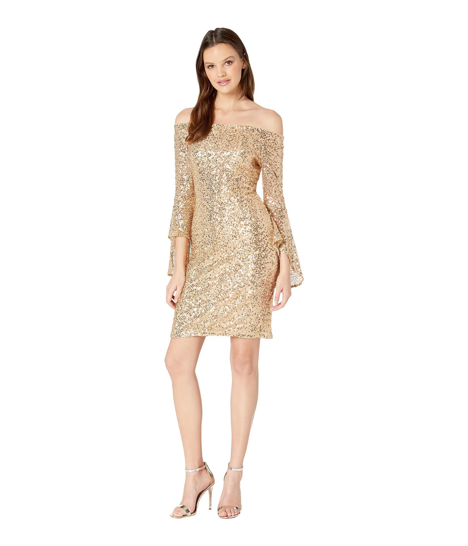 fba5ec420576fd Bebe - Metallic Off Shoulder Sequin Dress W  Bell Sleeves - Lyst. View  fullscreen