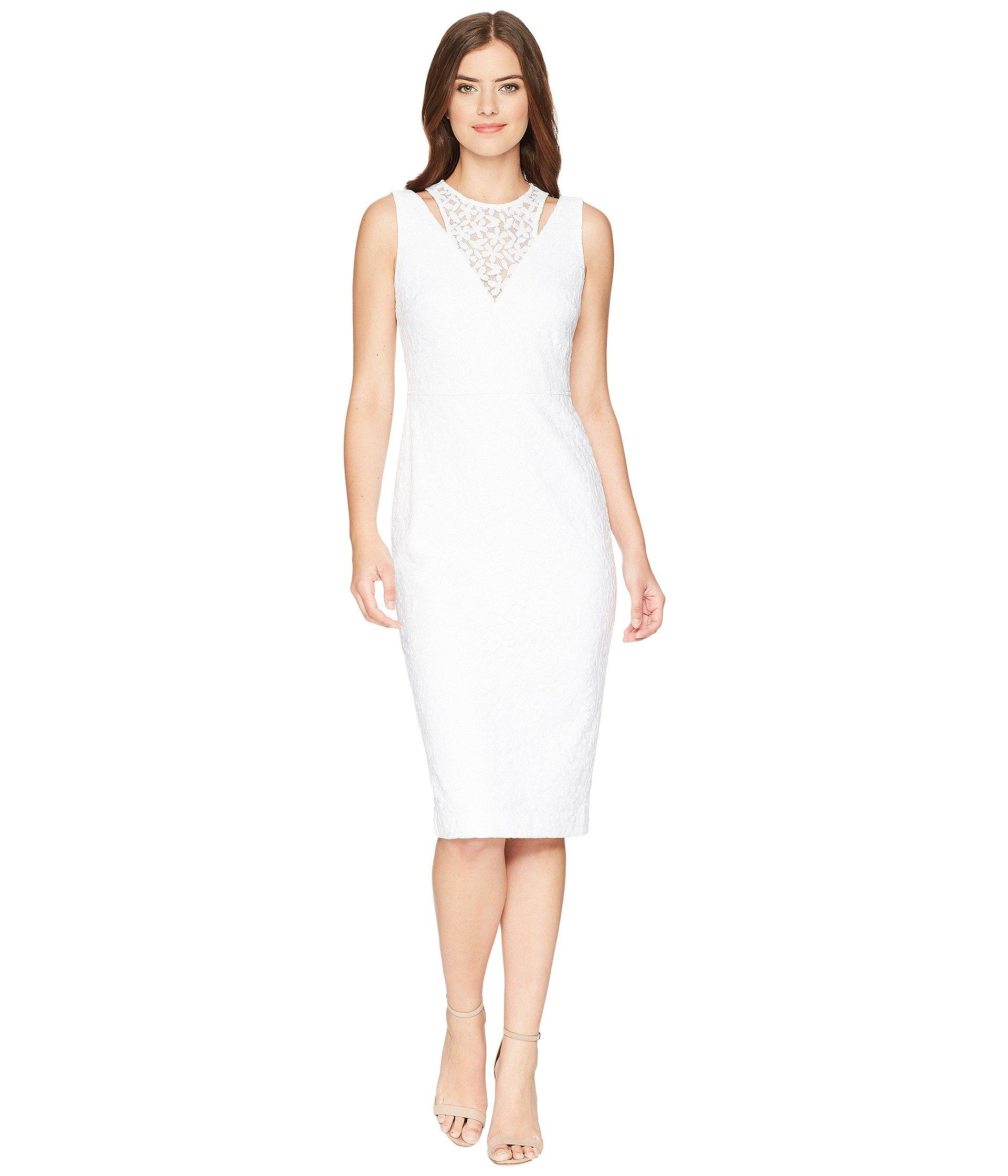 a551a34e Lyst - Calvin Klein Lace Sheath Dress With Shoulder Cut Outs ...