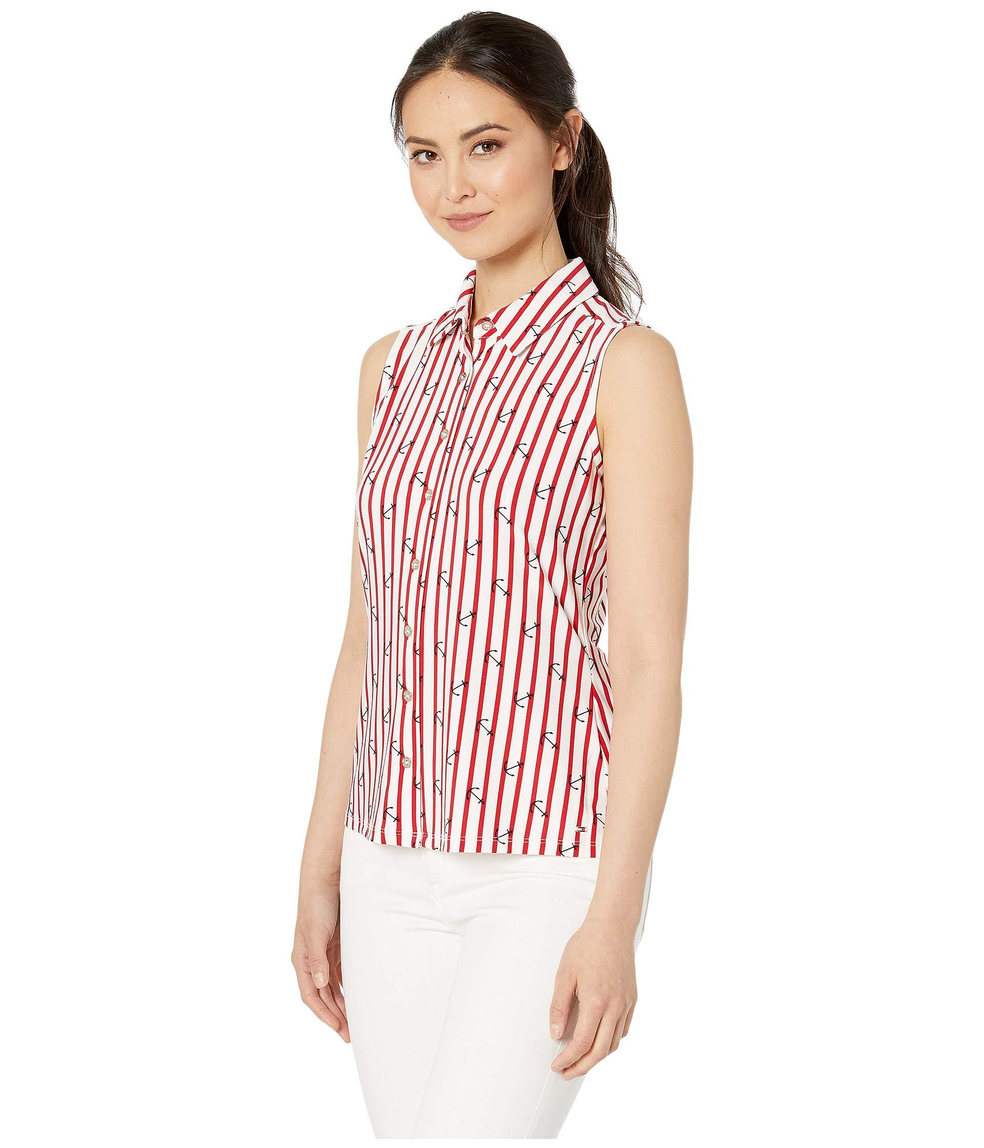 fc04e0bfb549 Lyst - Tommy Hilfiger Anchor Print Button Front Sleeveless Knit Top in Red