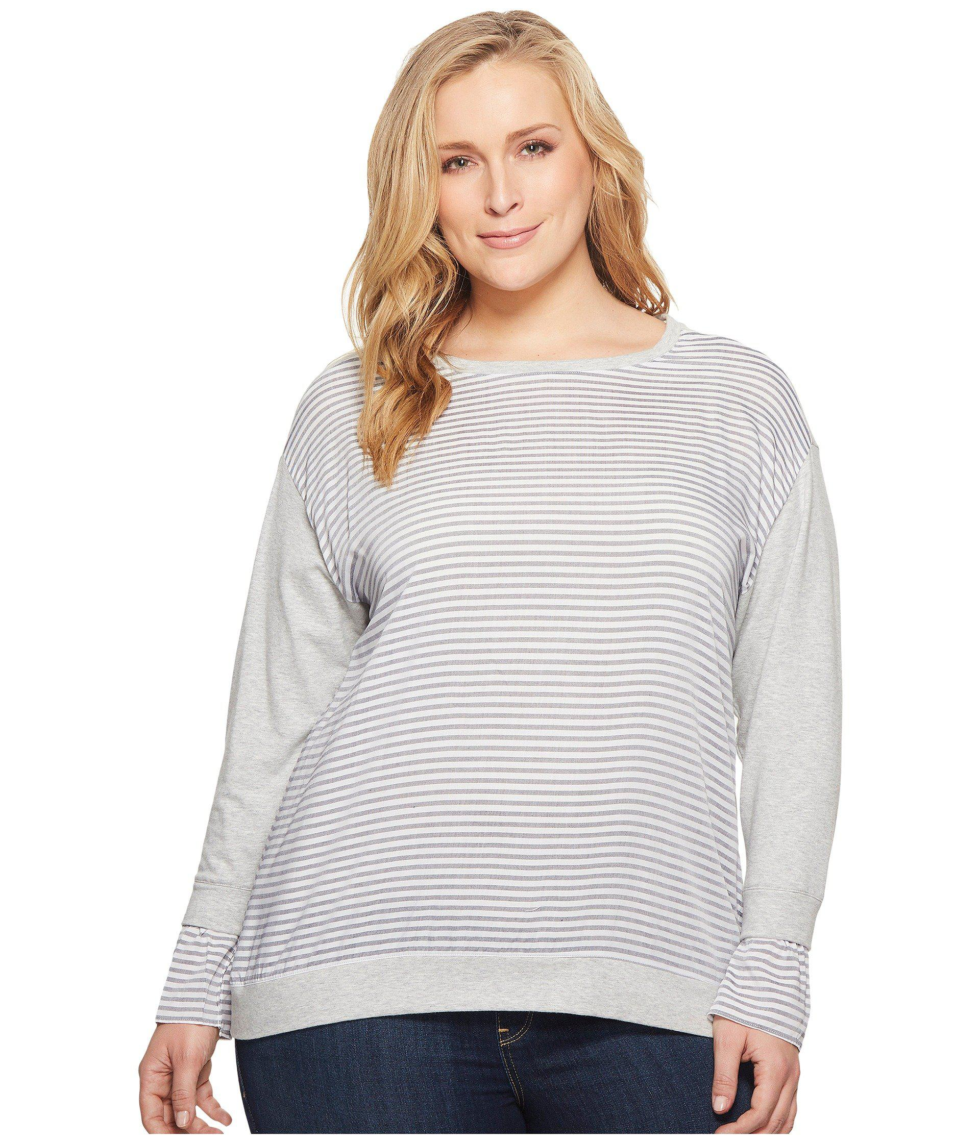 ae0b2b7b137 Two By Vince Camuto. Women s Gray Plus Size Long Sleeve Yarn-dye Stripe ...