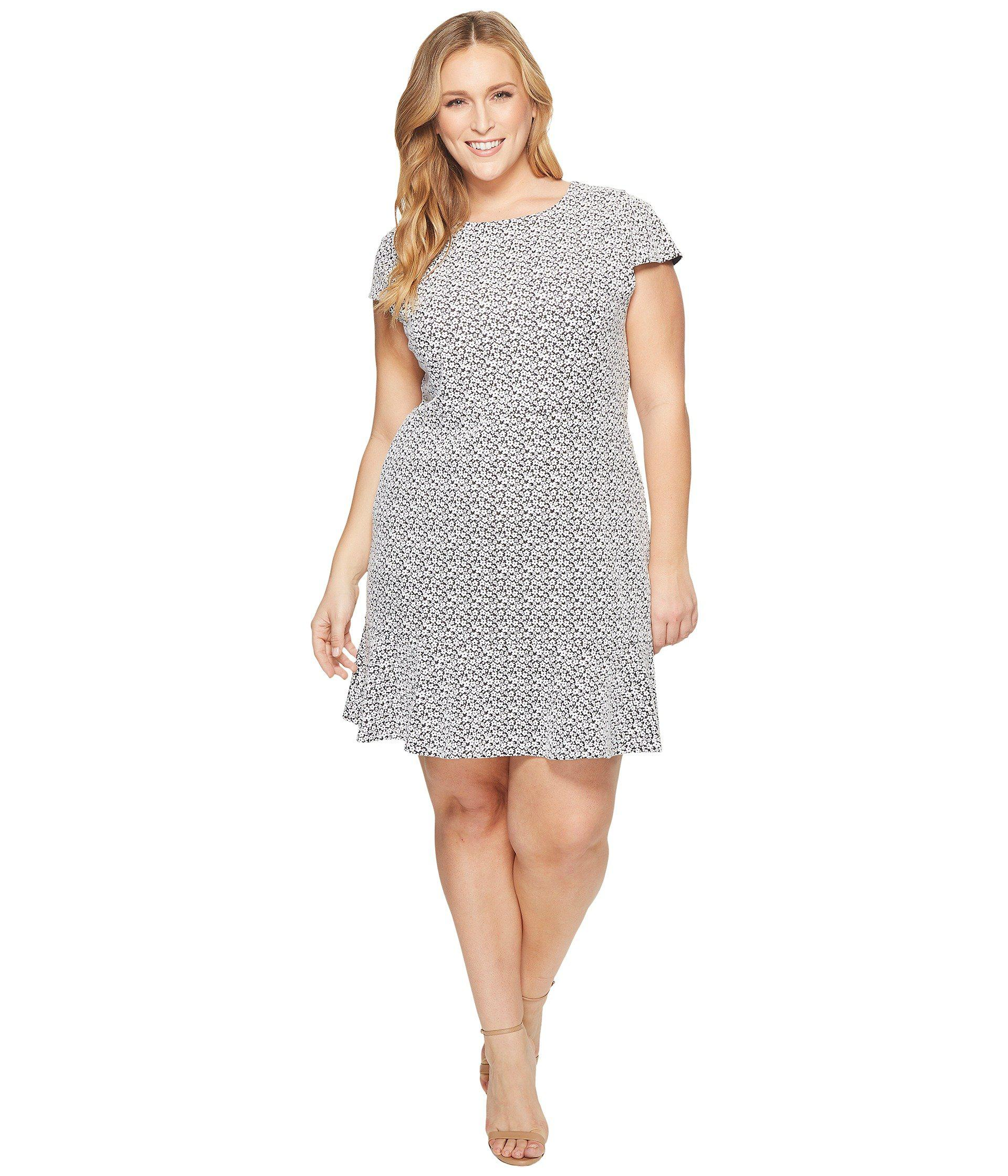 5b1a46ffc11 MICHAEL Michael Kors. Women s Plus Size Jacquard Knit Short Sleeve Flounce  Dress