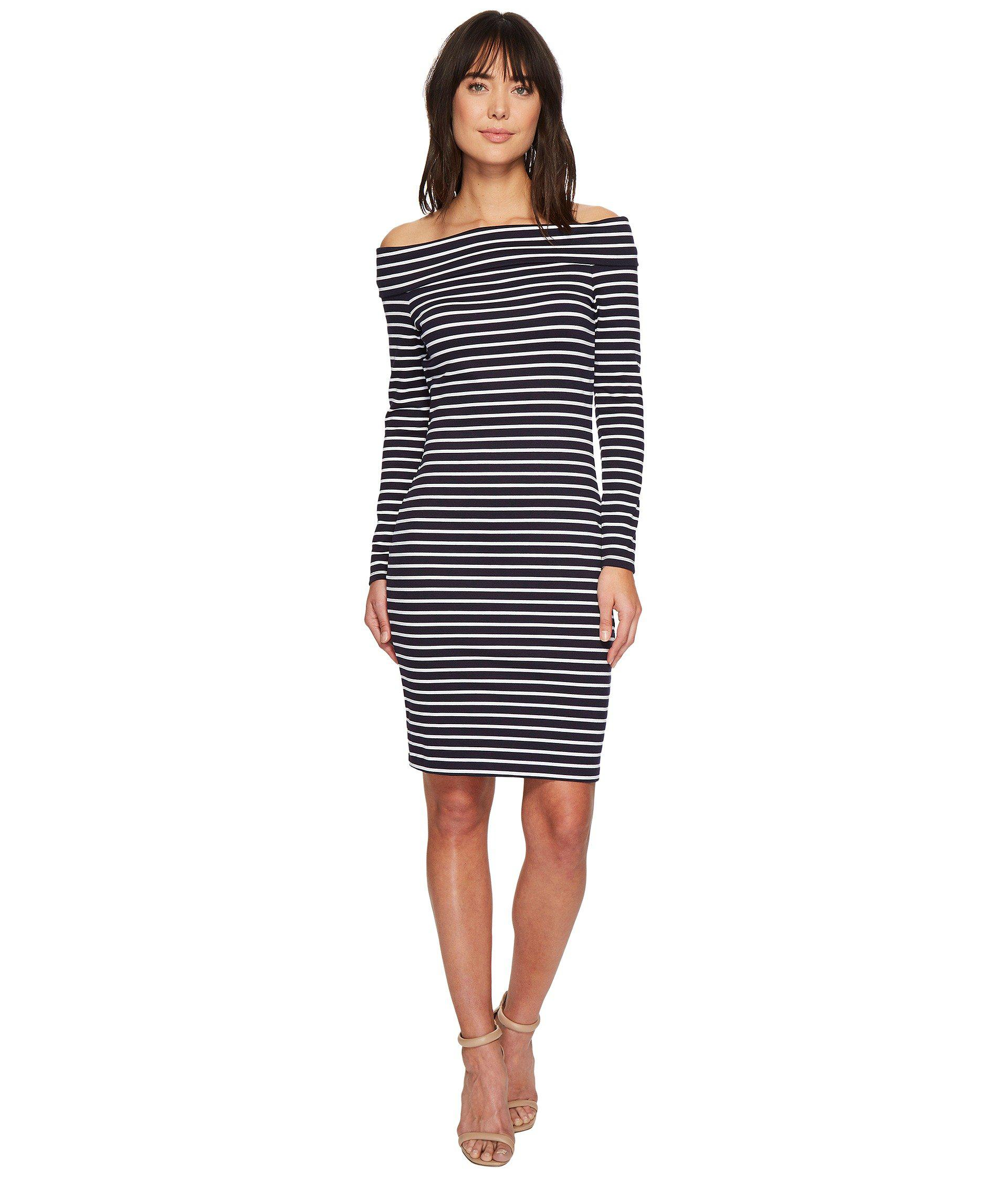 bc555ad608c Lyst - MICHAEL Michael Kors Striped Off Shoulder Dress in Blue ...