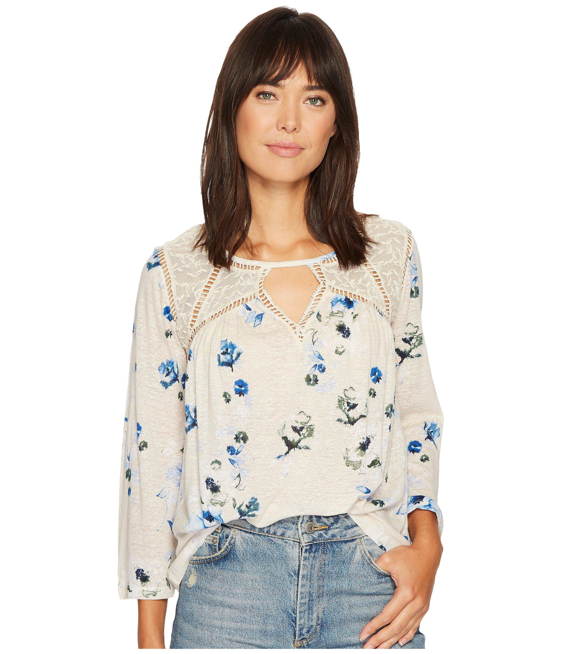de181edd6368e Lyst - Lucky Brand Floral Lace Mix Peasant Top in Natural - Save 15%