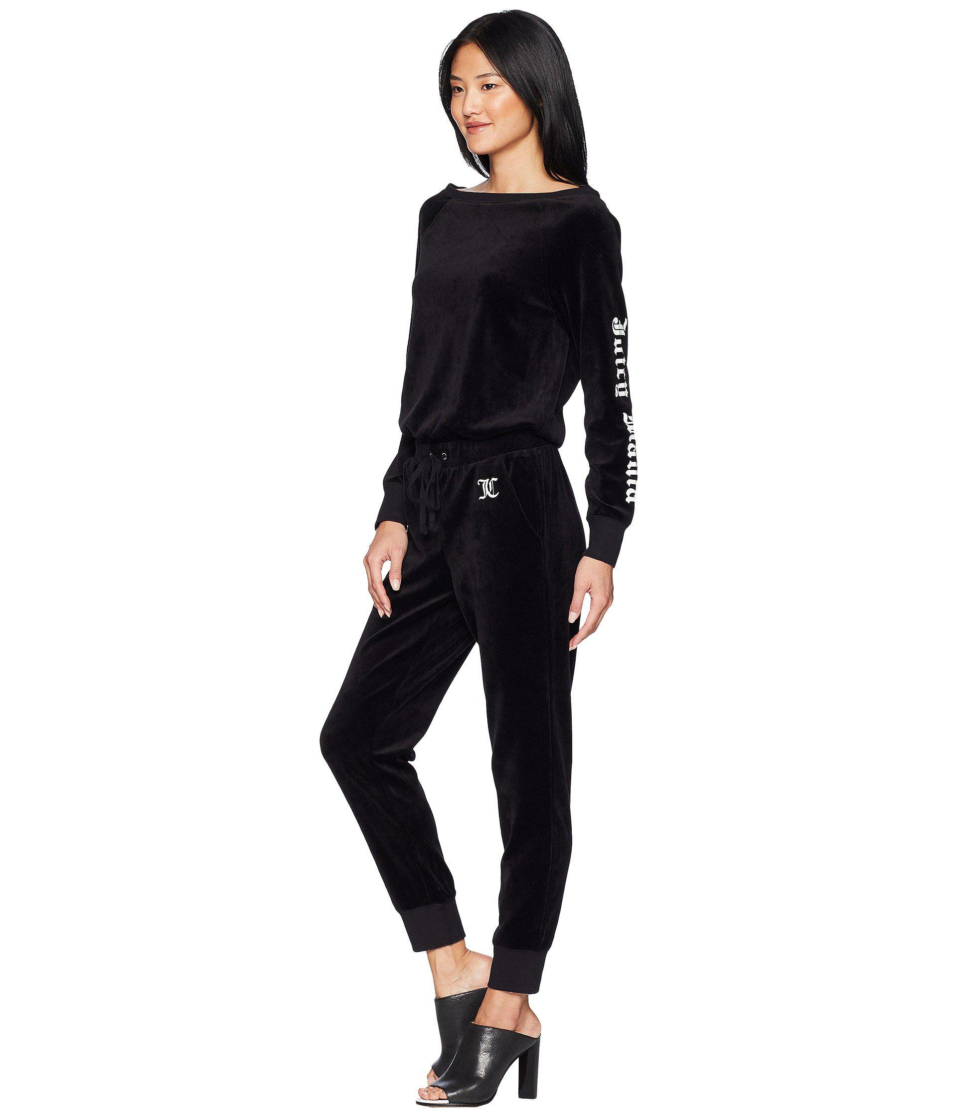 2f81a06b3086 Lyst - Juicy Couture Track Velour Juicy Mania Long Sleeve Jumpsuit ...