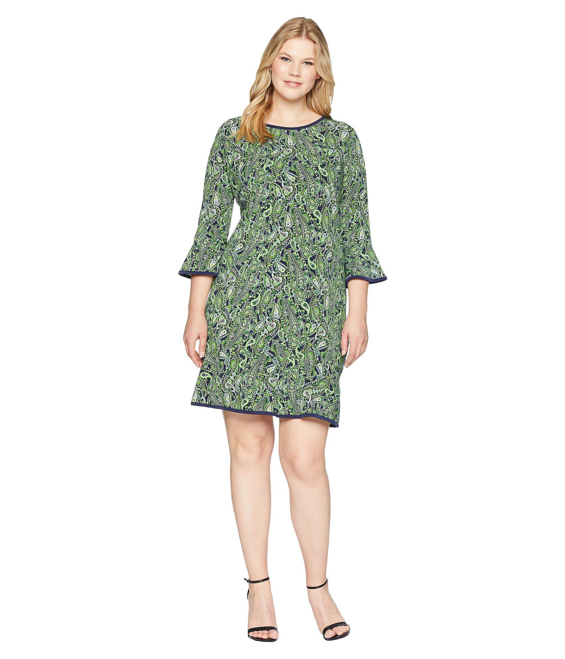 6c6874a881977 Lyst - MICHAEL Michael Kors Plus Size Paisley Flounce Dress in Green ...