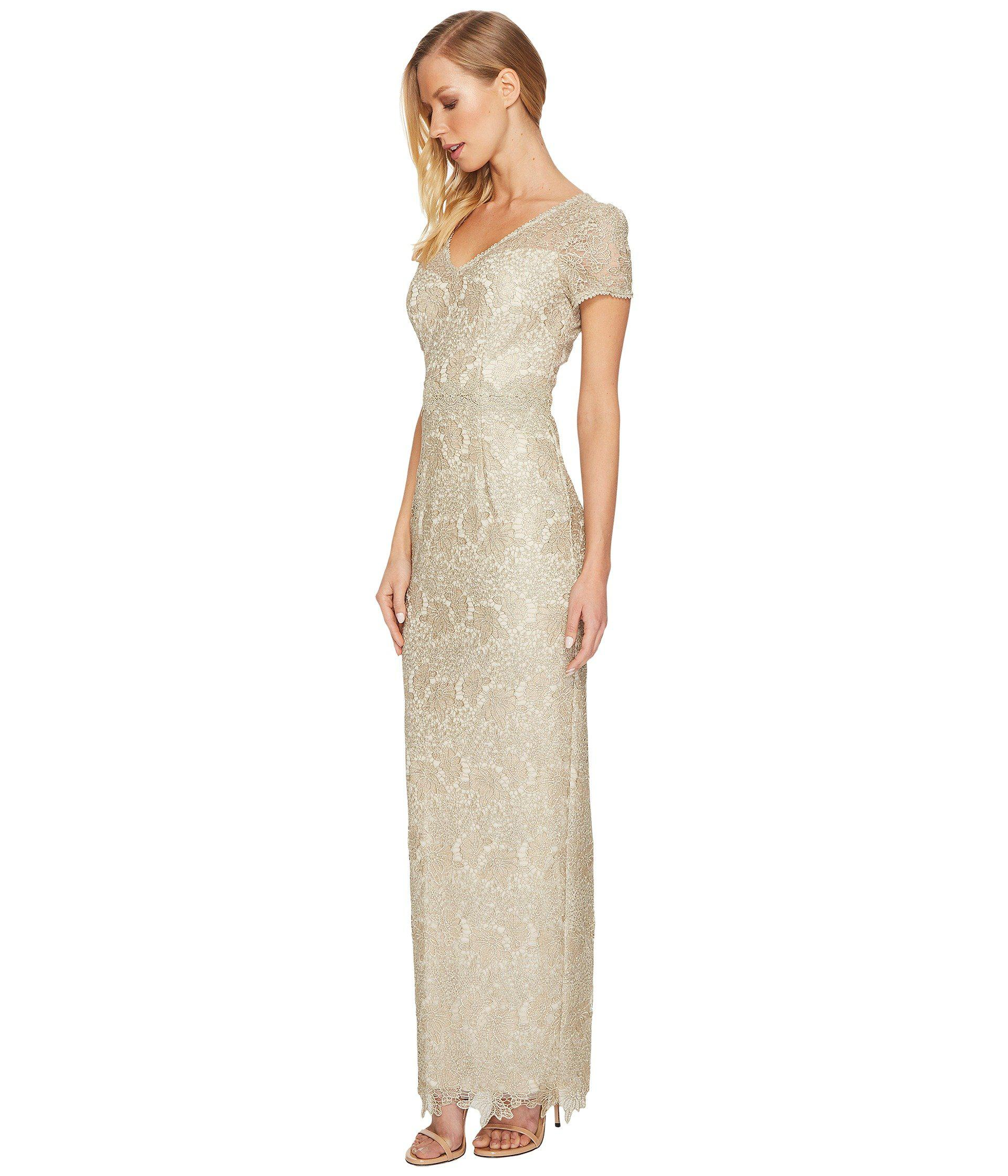 6a7c1ca3df2 Lyst - Adrianna Papell Short Sleeve V-neck Long Metallic Lace Gown in  Metallic - Save 11%