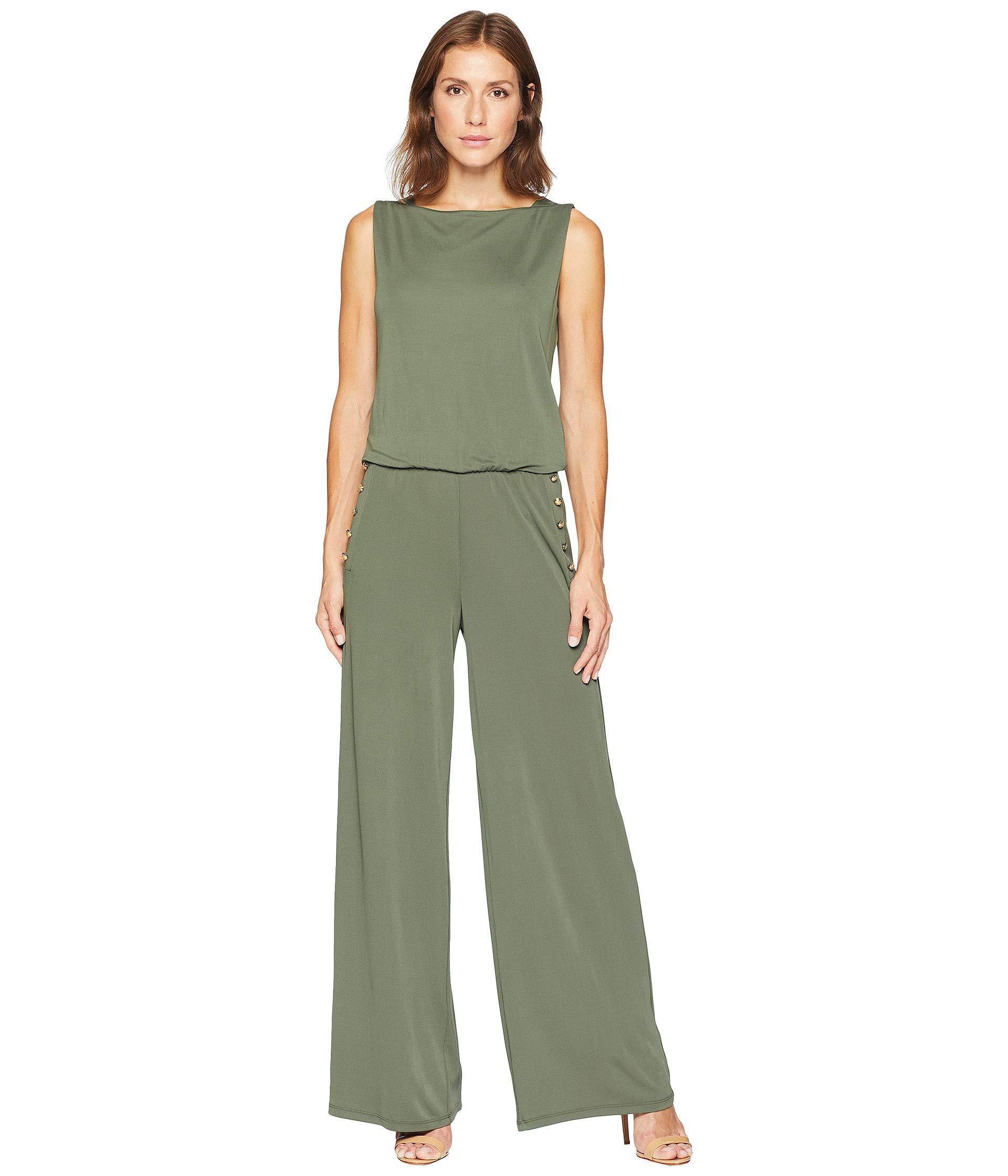 bac1917ff14 Lyst - Lauren by Ralph Lauren Jersey Wide-leg Jumpsuit in Green ...