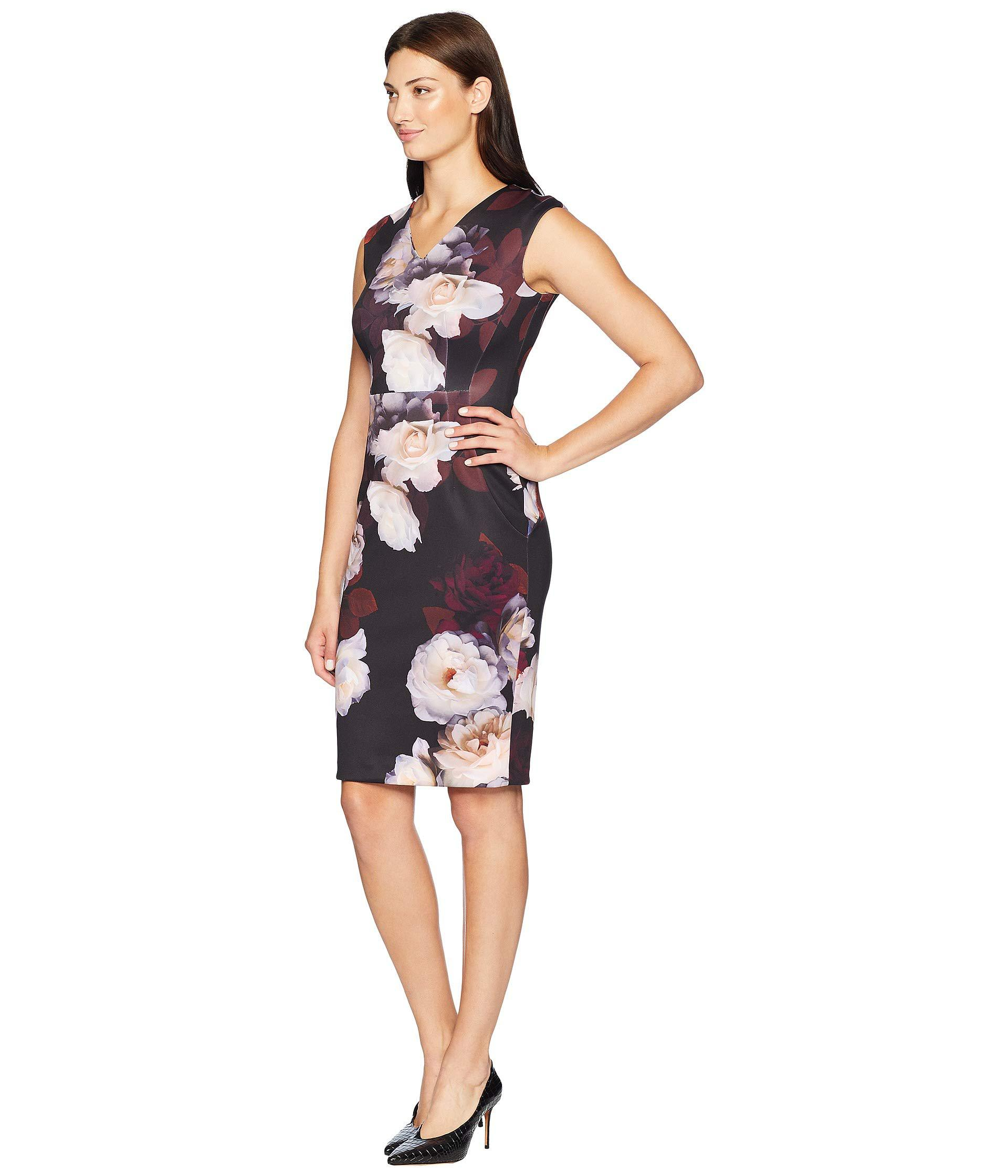 eb2b2a424bc0 Lyst - Calvin Klein Floral V-neck Sheath Dress Cd8m38av