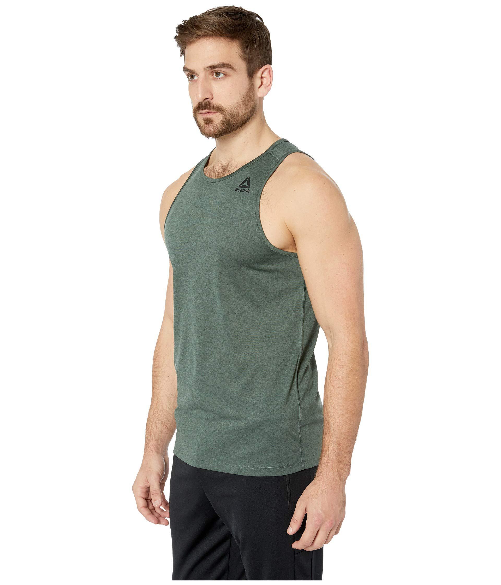 ed21592555f9c3 Lyst - Reebok Melange Sleeveless Tee in Green for Men - Save 6%