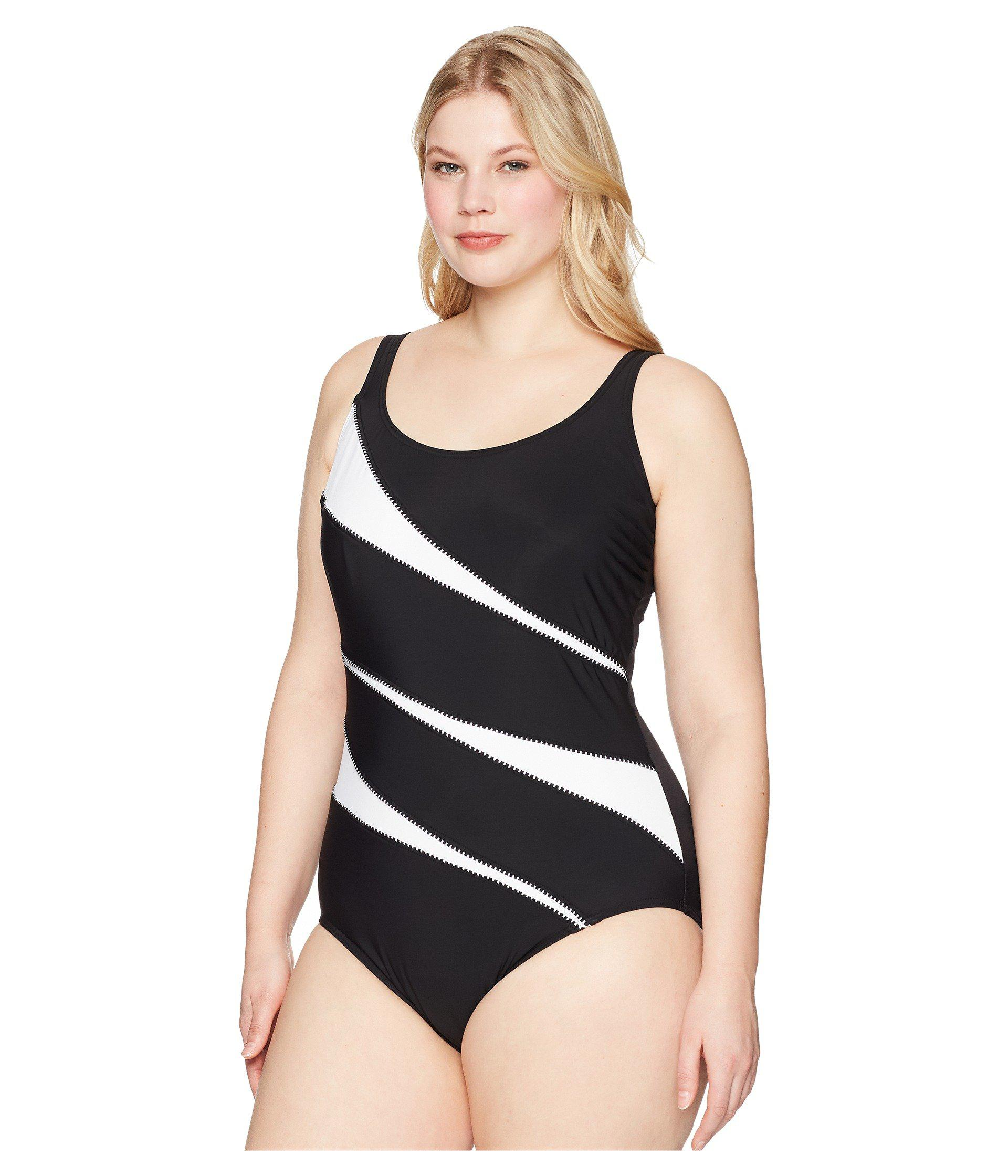 cc2eef1e93 Miraclesuit Plus Size Solids Helix One-piece (black/white) Swimsuits ...