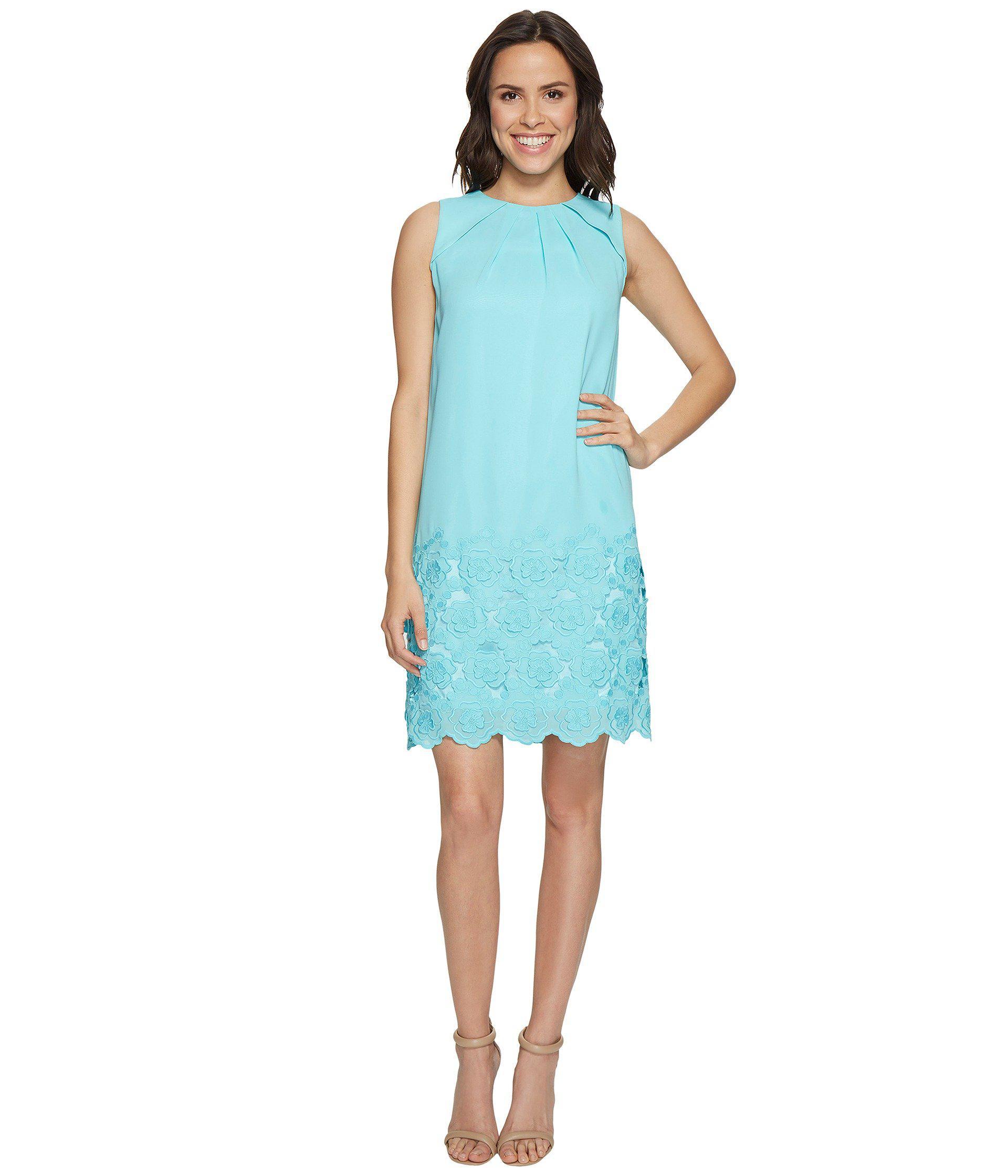 05358f7dad230 Lyst - Tahari Floral Embroidered Hem Shift Dress in Blue - Save 24%