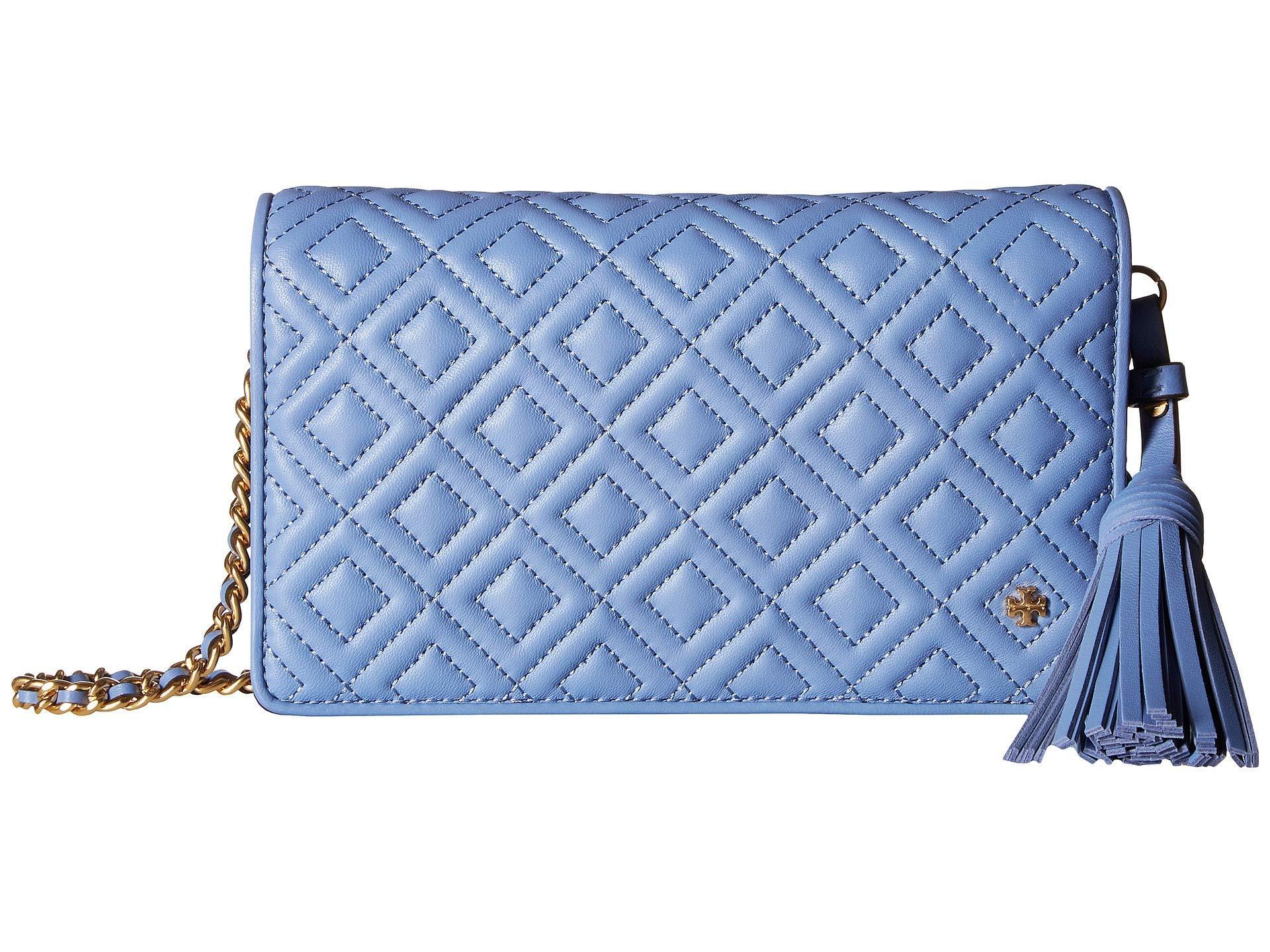 fa095496d32 Lyst - Tory Burch Fleming Flat Wallet Crossbody in Blue - Save 30%