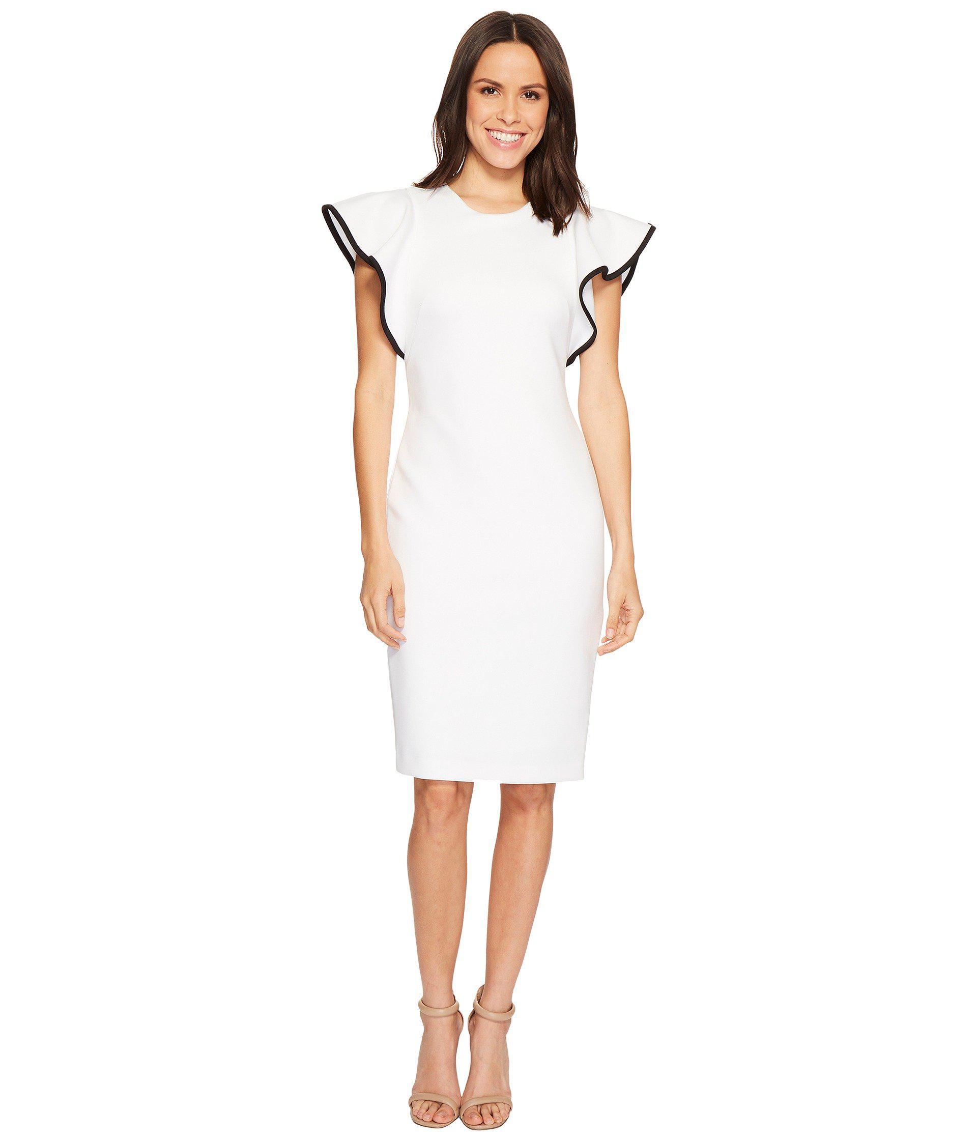 a7053187 Calvin Klein Ruffle Sleeve With Piping Scuba Sheath Dress Cd8m16gz ...